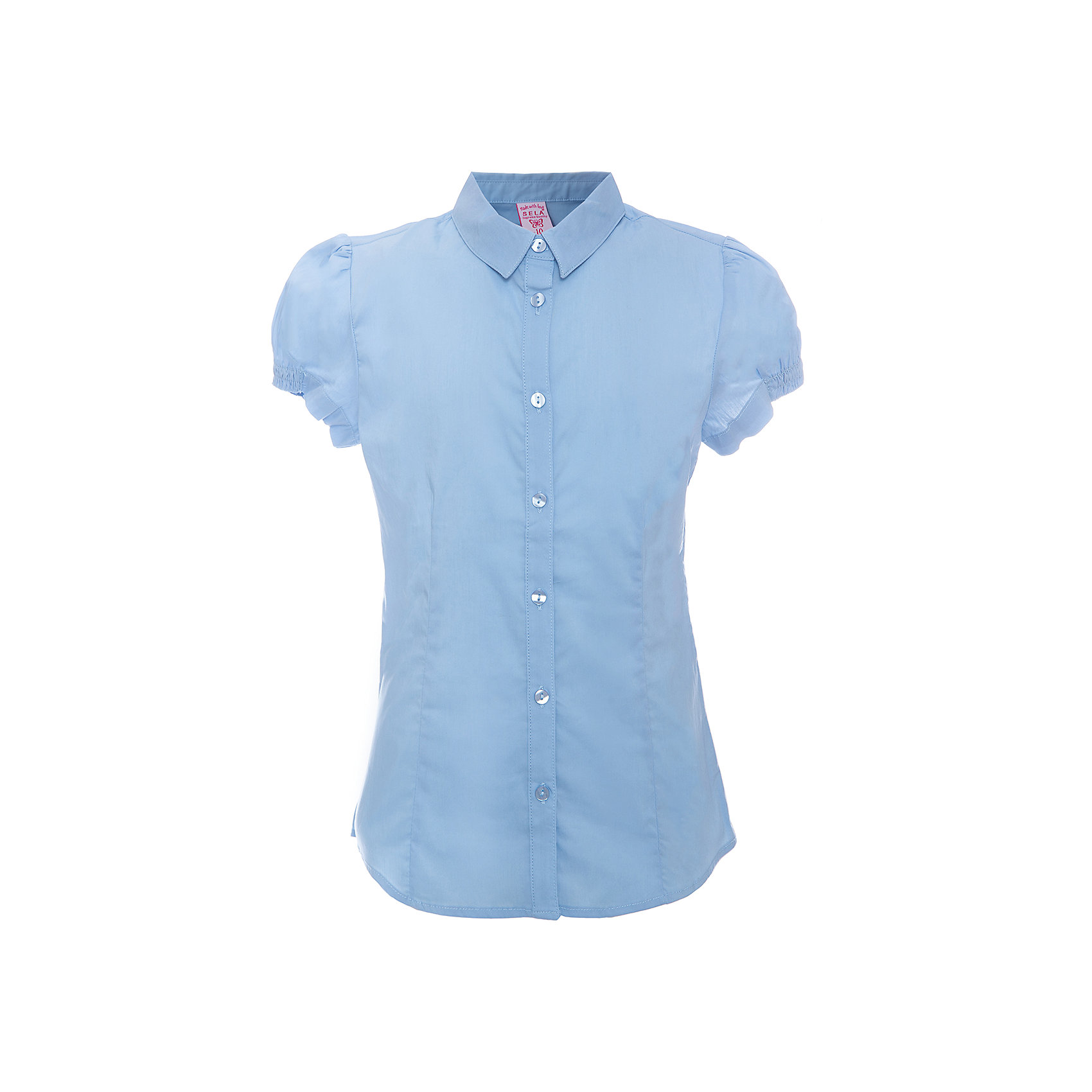 Блузка для девочки SELAБлузки и рубашки<br>Блузка - незаменимая вещь в гардеробе школьников. Эта модель отлично сидит на ребенке, она сделана из приятного на ощупь материала, мягкая и дышащая. Натуральный хлопок в составе ткани не вызывает аллергии и обеспечивает ребенку комфорт. Модель станет отличной базовой вещью, которая будет уместна в различных сочетаниях.<br>Одежда от бренда Sela (Села) - это качество по приемлемым ценам. Многие российские родители уже оценили преимущества продукции этой компании и всё чаще приобретают одежду и аксессуары Sela.<br><br>Дополнительная информация:<br><br>материал: 56% хлопок, 41% нейлон, 3% эластан;<br>рукава короткие;<br>застежки - пуговицы.<br><br>Блузку для девочки от бренда Sela можно купить в нашем интернет-магазине.<br><br>Ширина мм: 186<br>Глубина мм: 87<br>Высота мм: 198<br>Вес г: 197<br>Цвет: голубой<br>Возраст от месяцев: 132<br>Возраст до месяцев: 144<br>Пол: Женский<br>Возраст: Детский<br>Размер: 152,134,140,146,116,122,128<br>SKU: 4883470