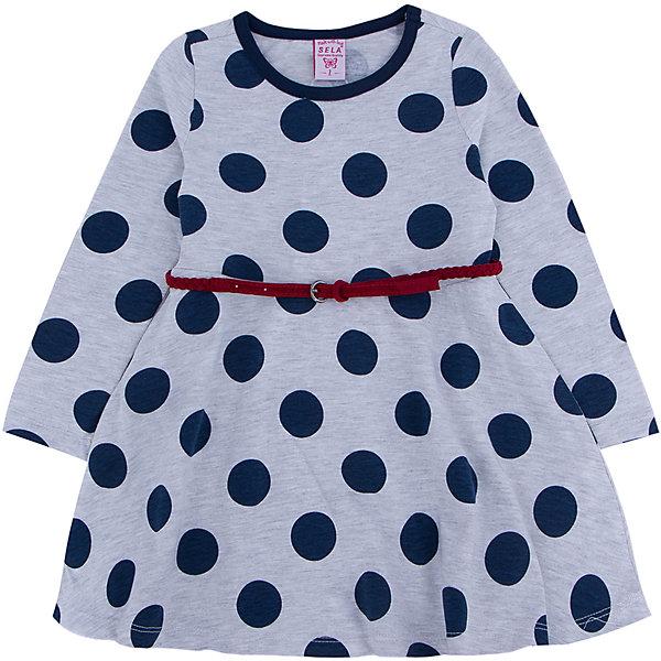 Платье для девочки SELAПлатья и сарафаны<br>Стильное платье в крупный синий горох с элегантным красным ремешком, то что необходимо иметь в гардеробе юной леди.<br><br>Платье очень удобно и его можно носить на праздник, либо в школу или просто на прогулку.<br><br>Дополнительная информация:<br><br>- Свободный крой.<br>- Длинный рукав, длина до колен, силуэт расклешенный.<br>- Цвет: серый.<br>- Состав: 65% хлопок, 35% ПЭ.<br>- Бренд: SELA<br>- Коллекция: осень-зима 2016-2017<br><br>Купить платье для девочки от SELA можно в нашем магазине.<br><br>Ширина мм: 236<br>Глубина мм: 16<br>Высота мм: 184<br>Вес г: 177<br>Цвет: серый<br>Возраст от месяцев: 48<br>Возраст до месяцев: 60<br>Пол: Женский<br>Возраст: Детский<br>Размер: 110,92,116,104,98<br>SKU: 4883492