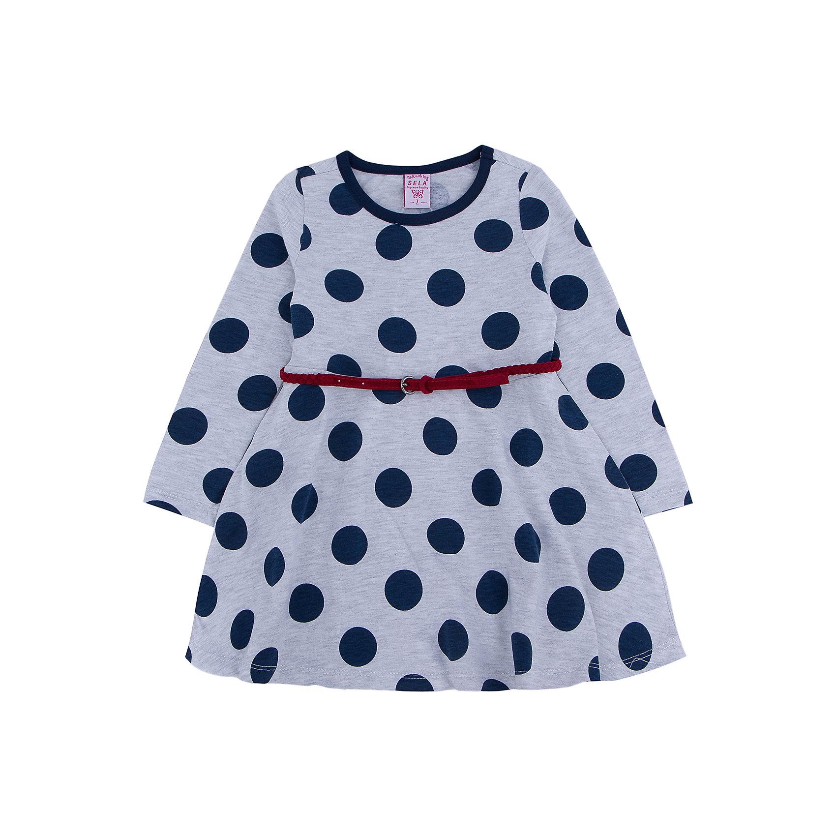 Платье для девочки SELAПлатья и сарафаны<br>Стильное платье в крупный синий горох с элегантным красным ремешком, то что необходимо иметь в гардеробе юной леди.<br><br>Платье очень удобно и его можно носить на праздник, либо в школу или просто на прогулку.<br><br>Дополнительная информация:<br><br>- Свободный крой.<br>- Длинный рукав, длина до колен, силуэт расклешенный.<br>- Цвет: серый.<br>- Состав: 65% хлопок, 35% ПЭ.<br>- Бренд: SELA<br>- Коллекция: осень-зима 2016-2017<br><br>Купить платье для девочки от SELA можно в нашем магазине.<br><br>Ширина мм: 236<br>Глубина мм: 16<br>Высота мм: 184<br>Вес г: 177<br>Цвет: серый<br>Возраст от месяцев: 18<br>Возраст до месяцев: 24<br>Пол: Женский<br>Возраст: Детский<br>Размер: 92,116,98,104,110<br>SKU: 4883492