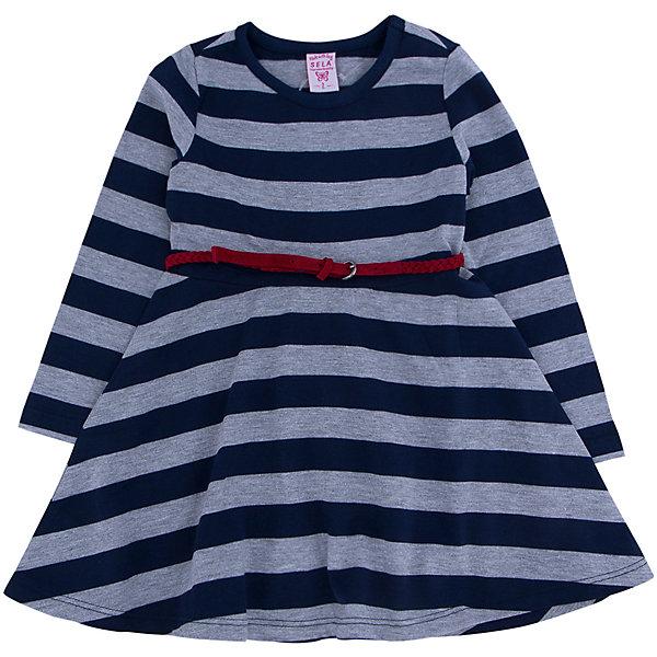 Платье для девочки SELAПлатья и сарафаны<br>Стильное платье в крупную полоску с элегантным красным ремешком, то что необходимо иметь в гардеробе юной леди.<br><br>Платье очень удобно и его можно носить на праздник, либо в школу или просто на прогулку.<br><br>Дополнительная информация:<br><br>- Свободный крой.<br>- Длинный рукав, длина до колен, силуэт расклешенный. <br>- Цвет: темно-синий.<br>- Состав: 65% хлопок, 35% ПЭ.<br>- Бренд: SELA<br>- Коллекция: осень-зима 2016-2017<br><br>Купить платье для девочки от SELA можно в нашем магазине.<br>Ширина мм: 236; Глубина мм: 16; Высота мм: 184; Вес г: 177; Цвет: синий; Возраст от месяцев: 60; Возраст до месяцев: 72; Пол: Женский; Возраст: Детский; Размер: 116,92,110,104,98; SKU: 4883498;