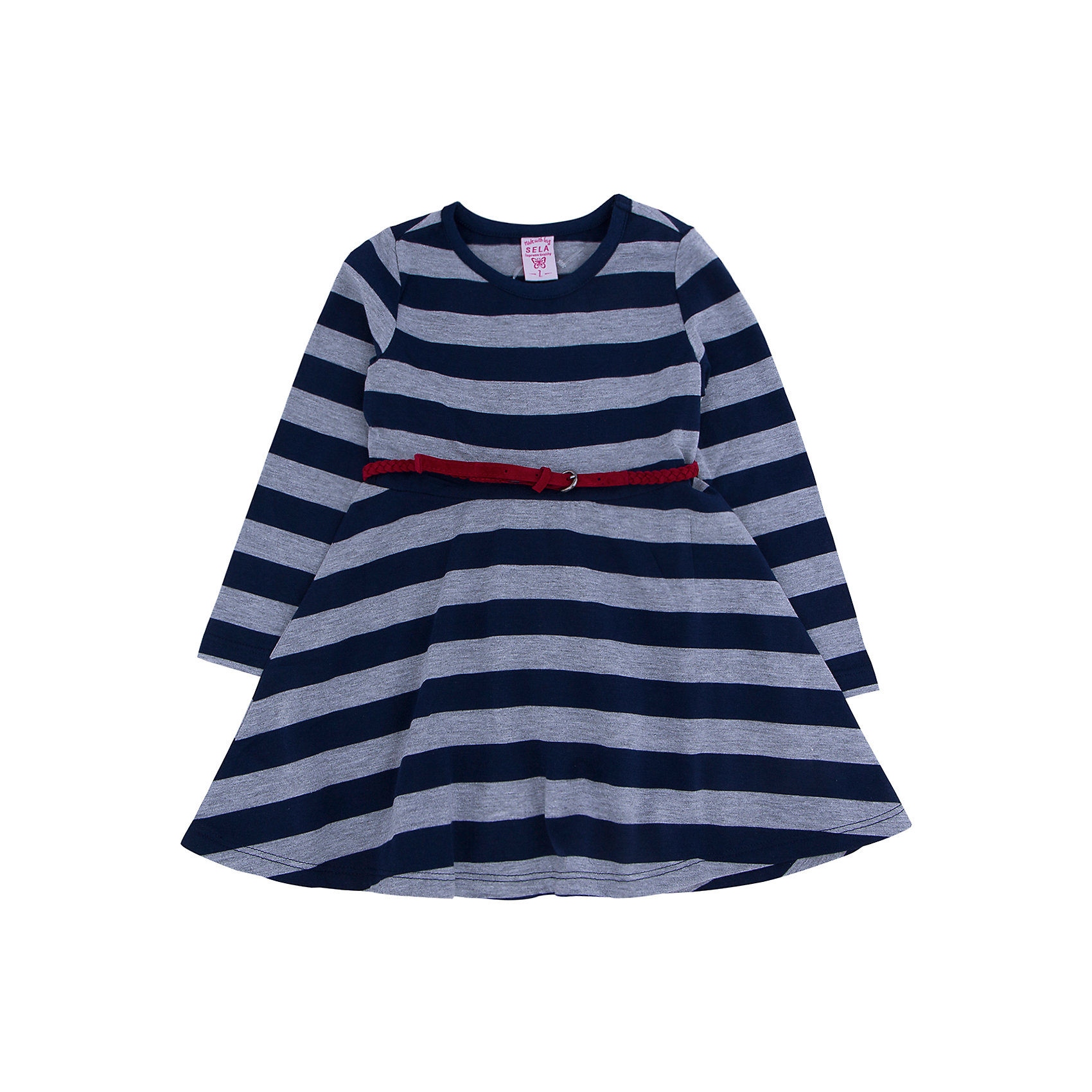 Платье для девочки SELAСтильное платье в крупную полоску с элегантным красным ремешком, то что необходимо иметь в гардеробе юной леди.<br><br>Платье очень удобно и его можно носить на праздник, либо в школу или просто на прогулку.<br><br>Дополнительная информация:<br><br>- Свободный крой.<br>- Длинный рукав, длина до колен, силуэт расклешенный. <br>- Цвет: темно-синий.<br>- Состав: 65% хлопок, 35% ПЭ.<br>- Бренд: SELA<br>- Коллекция: осень-зима 2016-2017<br><br>Купить платье для девочки от SELA можно в нашем магазине.<br><br>Ширина мм: 236<br>Глубина мм: 16<br>Высота мм: 184<br>Вес г: 177<br>Цвет: синий<br>Возраст от месяцев: 18<br>Возраст до месяцев: 24<br>Пол: Женский<br>Возраст: Детский<br>Размер: 98,116,110,104,92<br>SKU: 4883498