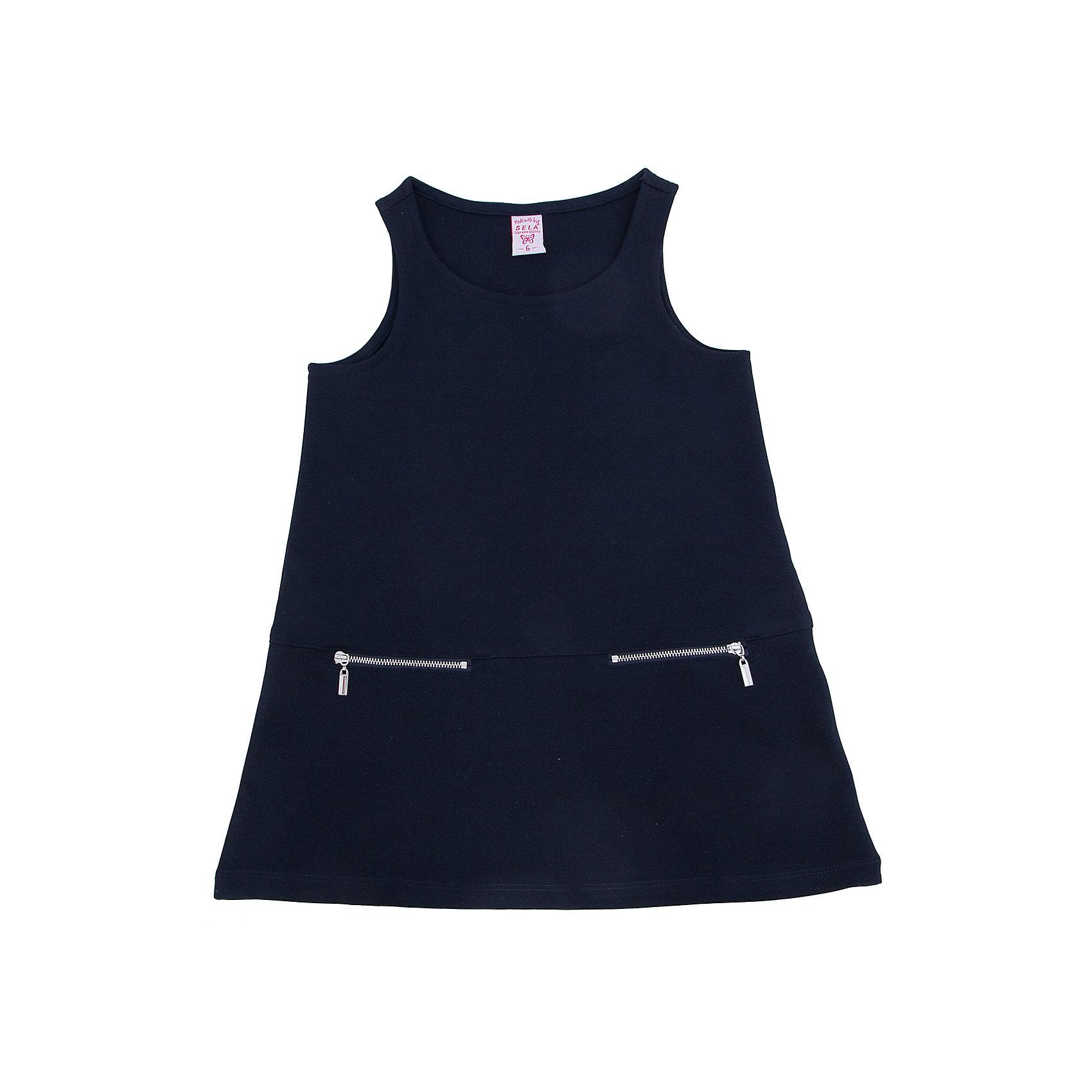 Платье для девочки SELAТакое платье - удобная и универсальная вещь. Эта модель отлично сидит на ребенке, она смотрится стильно и нарядно. Приятная на ощупь ткань и качественная фурнитура обеспечивает ребенку комфорт. Модель станет отличной базовой вещью, которая будет уместна в различных сочетаниях.<br>Одежда от бренда Sela (Села) - это качество по приемлемым ценам. Многие российские родители уже оценили преимущества продукции этой компании и всё чаще приобретают одежду и аксессуары Sela.<br><br>Дополнительная информация:<br><br>выше колен;<br>материал: 50% вискоза, 45% ПЭ, 5% эластан;<br>без рукавов.<br><br>Платье для девочки от бренда Sela можно купить в нашем интернет-магазине.<br><br>Ширина мм: 236<br>Глубина мм: 16<br>Высота мм: 184<br>Вес г: 177<br>Цвет: синий<br>Возраст от месяцев: 132<br>Возраст до месяцев: 144<br>Пол: Женский<br>Возраст: Детский<br>Размер: 152,116,122,128,134,140,146<br>SKU: 4883504