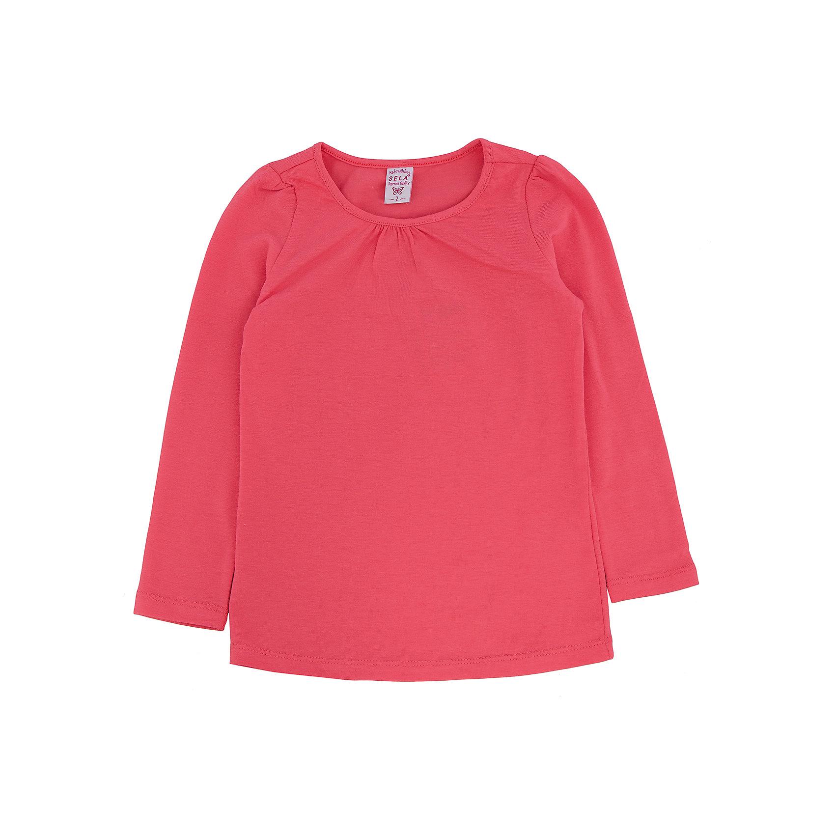 Футболка с длинным рукавом для девочки SELAФутболки с длинным рукавом<br>Джемпер для девочки из коллекции осень-зима 2016-2017 от известного бренда Sela(сэла).<br>Модель имеет прямой силуэт и длинные рукава. Отлично сочетается и с джинсами, и с юбкой.<br>Особенности:<br>-прямой силуэт<br>-длинные рукава<br>-нормальная длина<br>Состав: 5% эластан, 95% хлопок<br>Джемпер для девочек Sela(сэла) можно купить в нашем интернет-магазине.<br><br>Ширина мм: 190<br>Глубина мм: 74<br>Высота мм: 229<br>Вес г: 236<br>Цвет: красный<br>Возраст от месяцев: 24<br>Возраст до месяцев: 36<br>Пол: Женский<br>Возраст: Детский<br>Размер: 98,116,92,104,110<br>SKU: 4883765