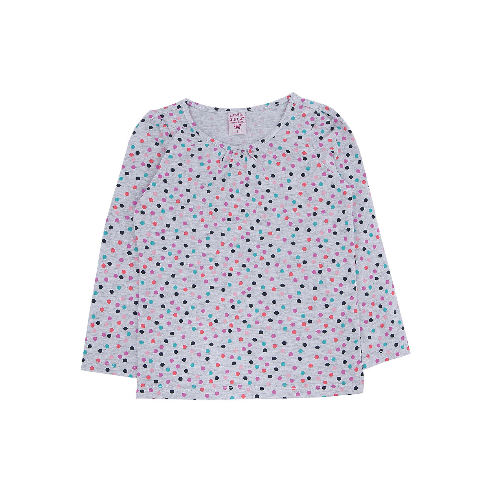 Футболка с длинным рукавом для девочки SELAДжемпер для девочки из коллекции осень-зима 2016-2017 от известного бренда Sela(сэла).<br>Модель имеет прямой силуэт и длинные рукава. Отлично сочетается и с джинсами, и с юбкой.<br>Особенности:<br>-прямой силуэт<br>-длинные рукава<br>-нормальная длина<br>Состав: 5% эластан, 95% хлопок<br>Джемпер для девочек Sela(сэла) можно купить в нашем интернет-магазине.<br><br>Ширина мм: 190<br>Глубина мм: 74<br>Высота мм: 229<br>Вес г: 236<br>Цвет: серый<br>Возраст от месяцев: 48<br>Возраст до месяцев: 60<br>Пол: Женский<br>Возраст: Детский<br>Размер: 110,116,92,98,104<br>SKU: 4883771