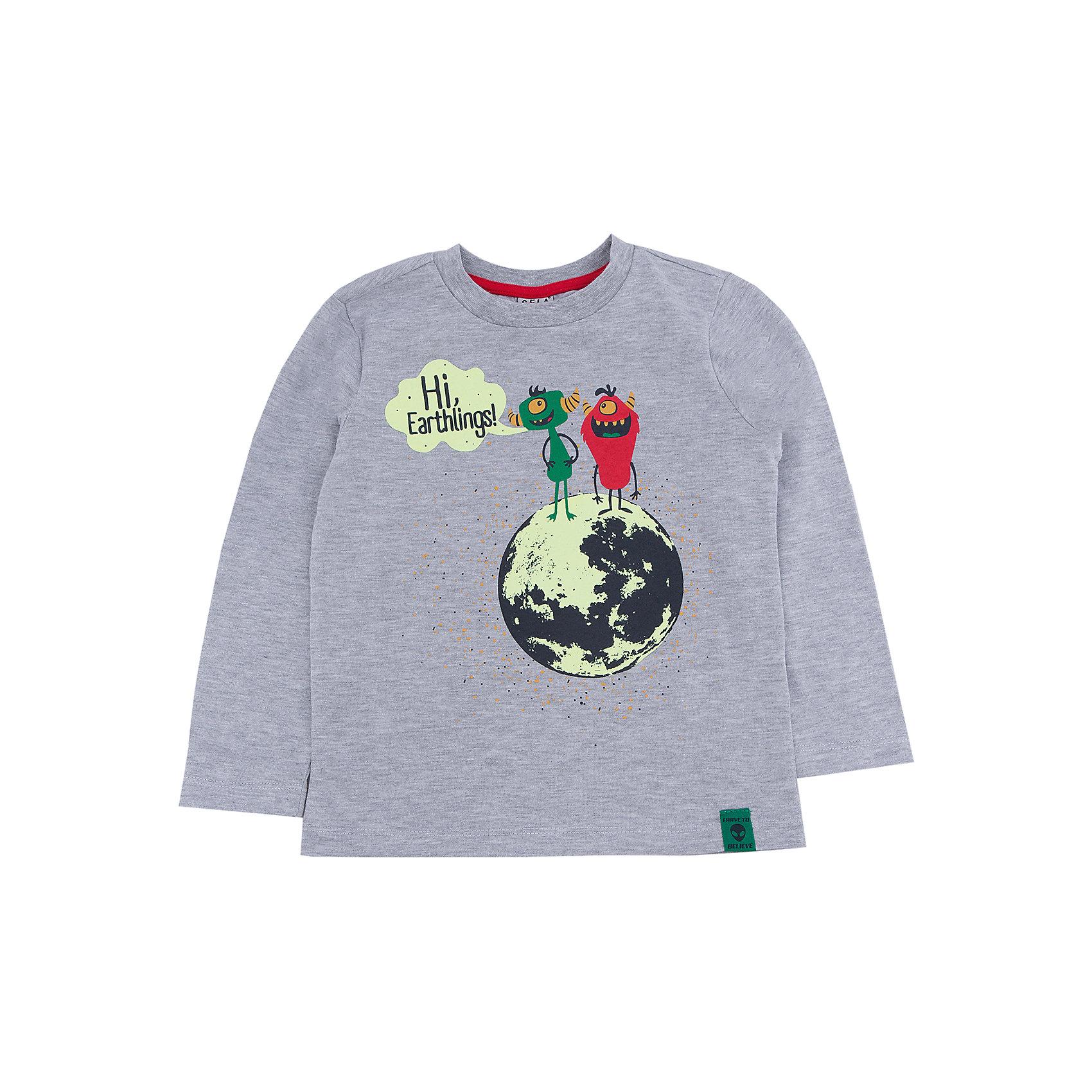 Футболка с длинным рукавом для мальчика SELAФутболки с длинным рукавом<br>Джемпер для мальчика из коллекции осень-зима 2016-2017 от известного бренда Sela(сэла).<br>Модель имеет длинные рукава и прямой силуэт. Оригинальный принт с инопланетными жителями не оставит вашего ребенка равнодушным!<br>Особенности:<br>-длинные рукава<br>-прямой силуэт<br>Состав: 35% ПЭ, 65% хлопок<br>Джемпер для мальчиков Sela(сэла) можно приобрести  в нашем интернет-магазине.<br><br>Ширина мм: 190<br>Глубина мм: 74<br>Высота мм: 229<br>Вес г: 236<br>Цвет: серый<br>Возраст от месяцев: 24<br>Возраст до месяцев: 36<br>Пол: Мужской<br>Возраст: Детский<br>Размер: 98,116,92,104,110<br>SKU: 4883819