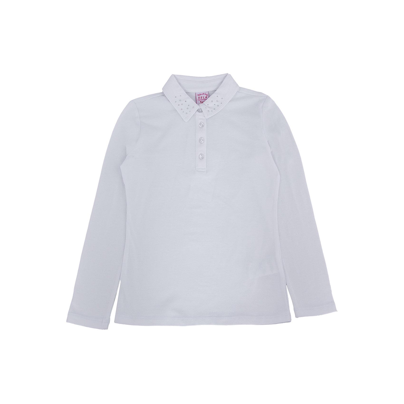 Блузка для девочки SELAБлузки и рубашки<br>Блузка для девочки из коллекции осень-зима 2016-2017 от известного бренда Sela(сэла). Модель имеет длинные рукава и полуприлегающий силуэт. Классическая светлая блузка - отличный вариант для важных мероприятий!<br>Особенности:<br>-длинные рукава<br>-полуприлегающий силуэт<br>Состав: 5% эластан, 95% хлопок<br>Блузку для девочек Sela(сэла) можно купить в нашем интернет-магазине.<br><br>Ширина мм: 186<br>Глубина мм: 87<br>Высота мм: 198<br>Вес г: 197<br>Цвет: белый<br>Возраст от месяцев: 168<br>Возраст до месяцев: 180<br>Пол: Женский<br>Возраст: Детский<br>Размер: 170,152,158,164<br>SKU: 4883842