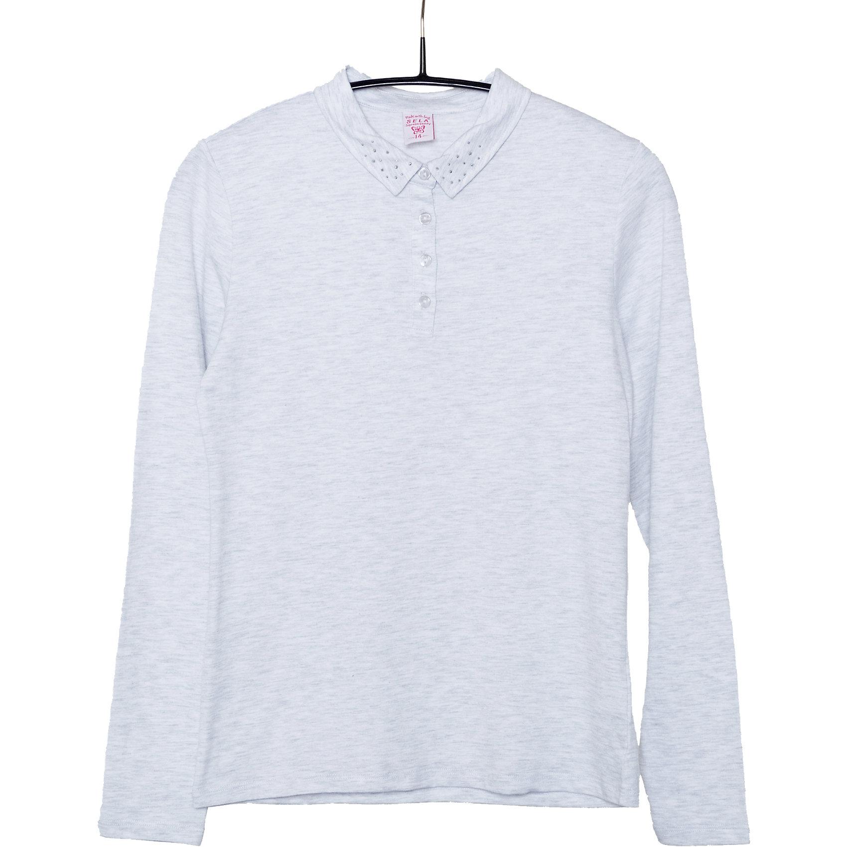 Блузка для девочки SELAБлузки и рубашки<br>Блузка для девочки из коллекции осень-зима 2016-2017 от известного бренда Sela(сэла). Модель имеет длинные рукава и полуприлегающий силуэт. Классическая светлая блузка - отличный вариант для важных мероприятий!<br>Особенности:<br>-длинные рукава<br>-полуприлегающий силуэт<br>Состав: 5% эластан, 95% хлопок<br>Блузку для девочек Sela(сэла) можно купить в нашем интернет-магазине.<br><br>Ширина мм: 186<br>Глубина мм: 87<br>Высота мм: 198<br>Вес г: 197<br>Цвет: серый<br>Возраст от месяцев: 156<br>Возраст до месяцев: 168<br>Пол: Женский<br>Возраст: Детский<br>Размер: 164,170,152,158<br>SKU: 4883847