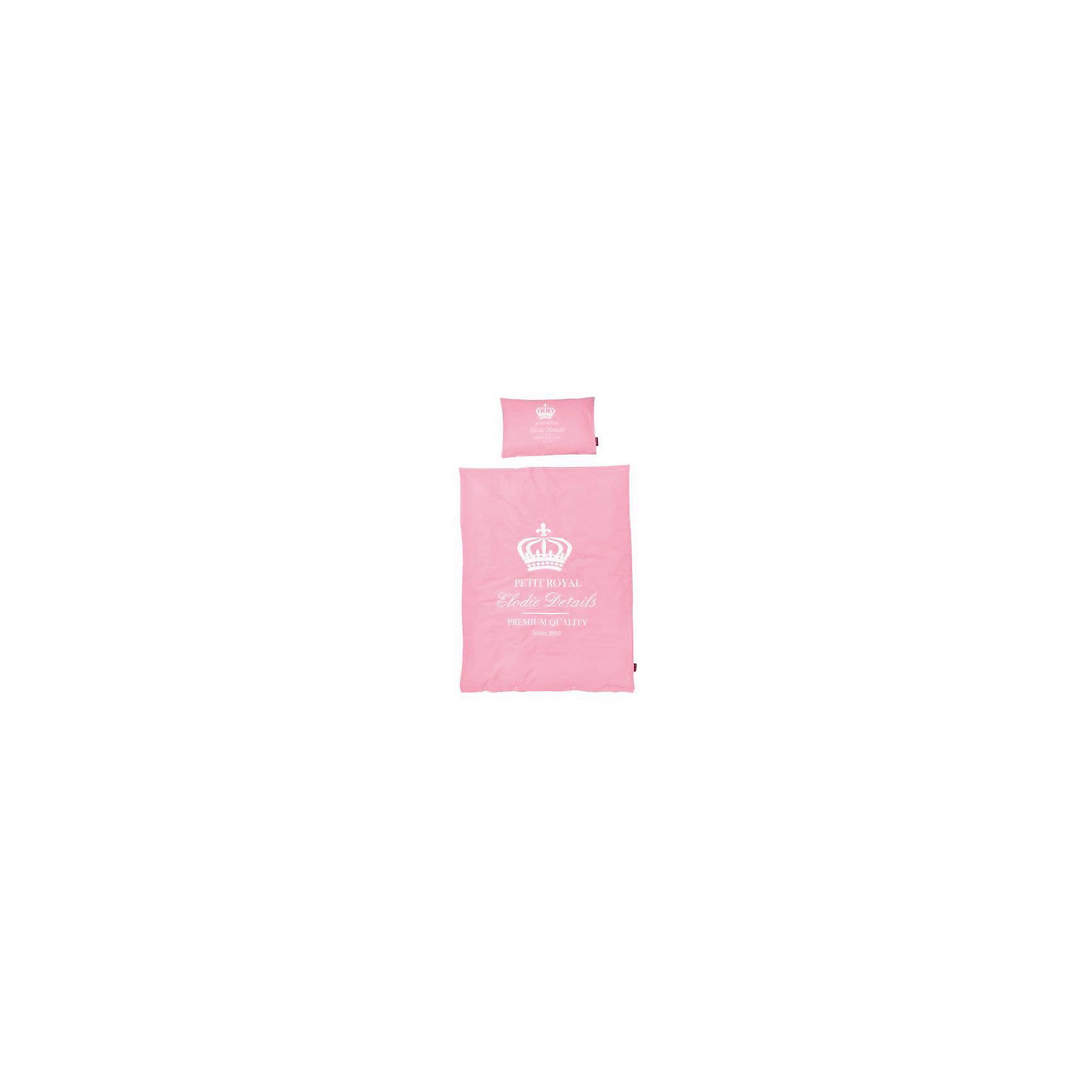 Постельное белье Petit Royal Pink 2 пред., Elodie Details, розовыйКомплект (наволочка + пододеяльник) Petit Royal Pink 103831 – для маленьких принцесс.  Выбирая этот комплект, вы можете быть уверены, что он сделан из 100% хлопка. Этот материал не вызывает аллергии. Комплект отлично пропускает воздух, не давая коже малыша становиться влажной. Нежная расцветка и стильный дизайн – порадуют маму и малыша. Данный комплект можно стирать в стиральной машине, не боясь, что он потеряет хороший внешний вид. <br><br>Дополнительная информация:<br><br>- В комплекте: наволочка и пододеяльник<br>- Размер наволочки: 35Х55<br>- Размер пододеяльника: 100Х130<br>- Материал: 100% хлопок<br>- Вес: 558гр<br><br>Комплект (наволочка + пододеяльник) Petit Royal Pink 103831 можно купить в нашем интернет-магазине.<br><br>Ширина мм: 390<br>Глубина мм: 270<br>Высота мм: 20<br>Вес г: 558<br>Возраст от месяцев: 0<br>Возраст до месяцев: 36<br>Пол: Женский<br>Возраст: Детский<br>SKU: 4887734
