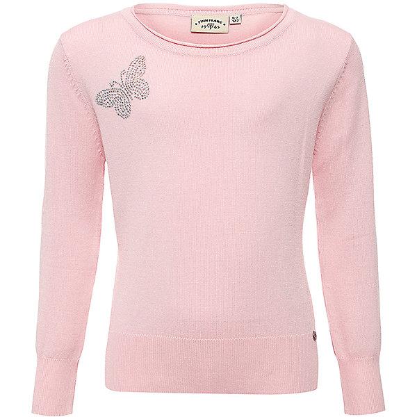 Джемпер для девочки Finn FlareСвитера и кардиганы<br>Джемпер известной марки Finn Flare.<br><br>Приталенный джемпер для девочки украшен аппликацией – бабочкой из страз. Джемпер можно носить вместе с блузкой, относится к школьному типу одежды, пригоден также для повседневной носки. <br><br>Фактура материала: Трикотажный<br>Вид застежки: Без застежки<br>Длина рукава: Длинные<br>Тип карманов: Без карманов<br><br>Состав: 80% вискоза, 20% нейлон<br><br>Рекомендации по уходу:<br><br>- стирать вручную или в стиральной машине при щадящем режиме стирки;<br>- температура стирки составляет 30-40°С;<br>- использовать моющие средства для тонких тканей;<br>- изделие не тереть;<br>- нельзя выкручивать или отжимать в центрифуге;<br>- нельзя сушить в сушильном устройстве;<br>- после стирки осторожно отжать;<br>- можно гладить утюгом, нагретым до 150° (установка шелк), во влажном состоянии, или через влажную ткань.<br><br>Джемпер для девочки Finn Flare можно купить в нашем интернет-магазине.<br><br>Ширина мм: 190<br>Глубина мм: 74<br>Высота мм: 229<br>Вес г: 236<br>Цвет: розовый<br>Возраст от месяцев: 72<br>Возраст до месяцев: 84<br>Пол: Женский<br>Возраст: Детский<br>Размер: 122,158,146,134<br>SKU: 4890073