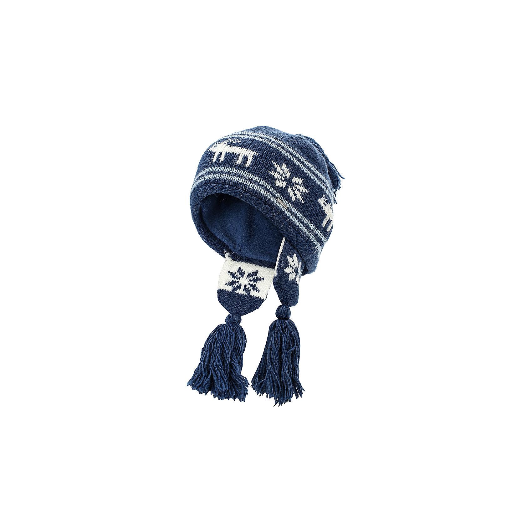 Шапка для девочки Finn FlareГоловные уборы<br>Шапка известной марки Finn Flare.<br><br>Теплая шапочка для зимнего периода оснащена «ушками» с кисточками, есть помпон-кисточка. Шапка вязаная, декорирована вязаной аппликацией «олень+снежинки». Теплая и нарядная шапочка на подкладке защищает от ветра, снега и холода, не колется и не растягивается. <br><br>Фактура материала: Трикотажный<br><br>Состав: 70% шерсть, 30% акрил<br>Подкладка: 100% полиэстер<br><br>Шапку для девочки Finn Flare можно купить в нашем интернет-магазине.<br><br>Ширина мм: 89<br>Глубина мм: 117<br>Высота мм: 44<br>Вес г: 155<br>Цвет: синий<br>Возраст от месяцев: 60<br>Возраст до месяцев: 72<br>Пол: Женский<br>Возраст: Детский<br>Размер: 54<br>SKU: 4890078