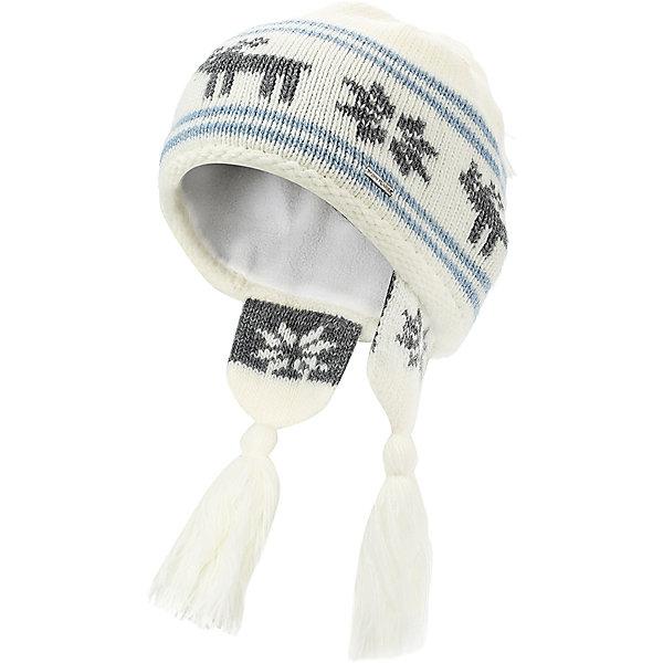 Шапка для девочки Finn FlareГоловные уборы<br>Шапка известной марки Finn Flare.<br><br>Теплая шапочка для зимнего периода оснащена «ушками» с кисточками, есть помпон-кисточка. Шапка вязаная, декорирована вязаной аппликацией «олень+снежинки». Теплая и нарядная шапочка на подкладке защищает от ветра, снега и холода, не колется и не растягивается. <br><br>Фактура материала: Трикотажный<br><br>Состав: 70% шерсть, 30% акрил<br>Подкладка: 100% полиэстер<br><br>Шапку для девочки Finn Flare можно купить в нашем интернет-магазине.<br><br>Ширина мм: 89<br>Глубина мм: 117<br>Высота мм: 44<br>Вес г: 155<br>Цвет: белый<br>Возраст от месяцев: 60<br>Возраст до месяцев: 72<br>Пол: Женский<br>Возраст: Детский<br>Размер: 54<br>SKU: 4890080