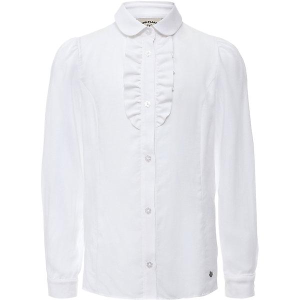 Блузка для девочки Finn FlareБлузки и рубашки<br>Блузка для девочки известной марки Finn Flare.<br><br>Школьная блузка для девочки украшена волнами у ворота, имеет декоративные пуговицы-цветочки. Блузка с длинными рукавами, которые имеют узкие манжеты на пуговичках. Рукава блузки можно подкатить – получится блузка с рукавами на 3/4. <br><br>Фактура материала: Текстильный<br>Вид застежки: Пуговицы<br>Длина рукава: Длинные<br>Тип карманов: Без карманов<br><br>Состав: 95% вискоза, 5% эластан<br><br>Блузку для девочки Finn Flare можно купить в нашем интернет-магазине.<br><br>Ширина мм: 186<br>Глубина мм: 87<br>Высота мм: 198<br>Вес г: 197<br>Цвет: белый<br>Возраст от месяцев: 120<br>Возраст до месяцев: 132<br>Пол: Женский<br>Возраст: Детский<br>Размер: 146,116,158,152,140,134,128,122<br>SKU: 4890167