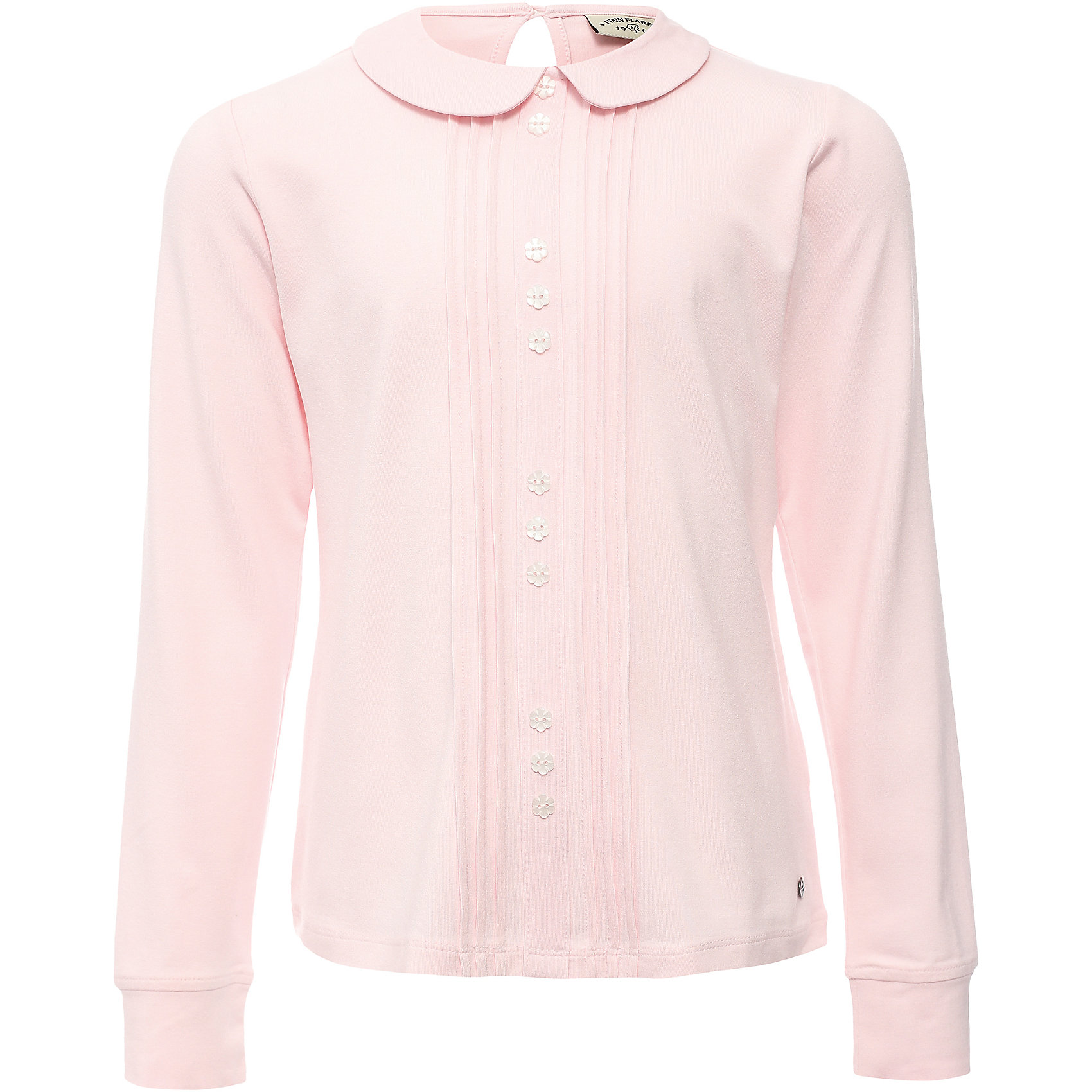 Блузка для девочки Finn FlareБлузки и рубашки<br>Блузка для девочки известной марки Finn Flare.<br><br>Школьная блузка для девочки может использоваться для повседневной носки. Блузка декорирована продольными складками, украшена декоративными пуговицами-цветочками, которые не расстегиваются. Застегивается блузка сзади, есть пуговичка на воротничке. Узкие манжеты на рукавах, без пуговиц. Трикотажная блузка не растягивается и не садится, практична в носке и стирке. <br><br>Фактура материала: Трикотажный<br>Вид застежки: Пуговицы<br>Длина рукава: Длинные<br>Тип карманов: Без карманов<br><br>Состав: 95% вискоза, 5% эластан<br><br>Блузку для девочки Finn Flare можно купить в нашем интернет-магазине.<br><br>Ширина мм: 186<br>Глубина мм: 87<br>Высота мм: 198<br>Вес г: 197<br>Цвет: розовый<br>Возраст от месяцев: 60<br>Возраст до месяцев: 72<br>Пол: Женский<br>Возраст: Детский<br>Размер: 116,158,122,128,134,140,146,152<br>SKU: 4890185