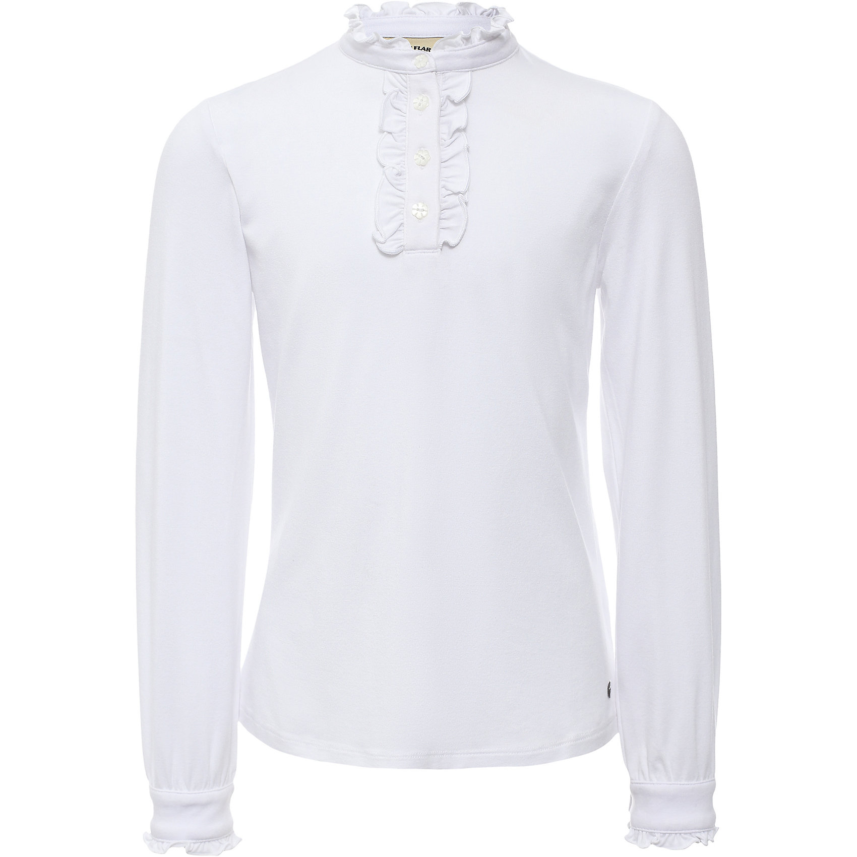 Блузка для девочки Finn FlareБлузки и рубашки<br>Блузка для девочки известной марки Finn Flare.<br><br>Школьная блузка для девочки может использоваться для повседневной носки. Блузка декорирована мелкими рюшами у горловины, по длине застежки на пуговицах. Длинные рукава оснащены манжетами, которые застегиваются на пуговицы. Манжеты имеют маленькие рюшки. <br><br>Фактура материала: Трикотажный<br>Вид застежки: Пуговицы<br>Длина рукава: Длинные<br>Тип карманов: Без карманов<br><br>Состав: 95% вискоза, 5% эластан<br><br>Блузку для девочки Finn Flare можно купить в нашем интернет-магазине.<br><br>Ширина мм: 186<br>Глубина мм: 87<br>Высота мм: 198<br>Вес г: 197<br>Цвет: белый<br>Возраст от месяцев: 144<br>Возраст до месяцев: 156<br>Пол: Женский<br>Возраст: Детский<br>Размер: 158,116,122,128,134,140,146,152<br>SKU: 4890194