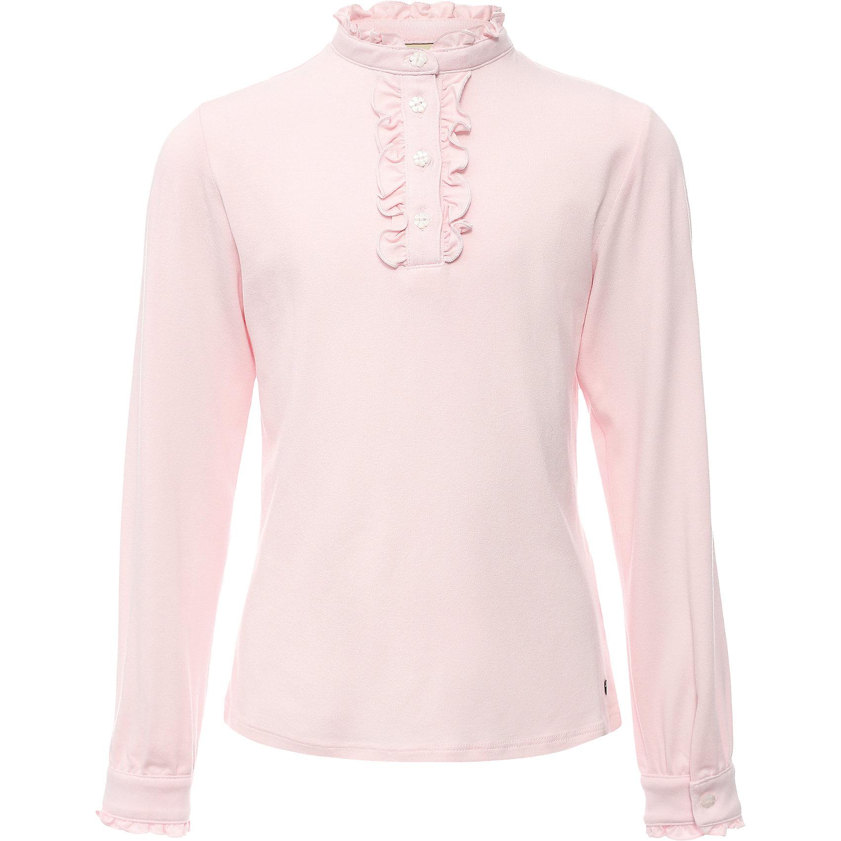 Блузка для девочки Finn FlareБлузки и рубашки<br>Блузка для девочки известной марки Finn Flare.<br><br>Школьная блузка для девочки может использоваться для повседневной носки. Блузка декорирована мелкими рюшами у горловины, по длине застежки на пуговицах. Длинные рукава оснащены манжетами, которые застегиваются на пуговицы. Манжеты имеют маленькие рюшки. <br><br>Фактура материала: Трикотажный<br>Вид застежки: Пуговицы<br>Длина рукава: Длинные<br>Тип карманов: Без карманов<br><br>Состав: 95% вискоза, 5% эластан<br><br>Блузку для девочки Finn Flare можно купить в нашем интернет-магазине.<br><br>Ширина мм: 186<br>Глубина мм: 87<br>Высота мм: 198<br>Вес г: 197<br>Цвет: розовый<br>Возраст от месяцев: 60<br>Возраст до месяцев: 72<br>Пол: Женский<br>Возраст: Детский<br>Размер: 116,158,122,128,134,140,146,152<br>SKU: 4890203
