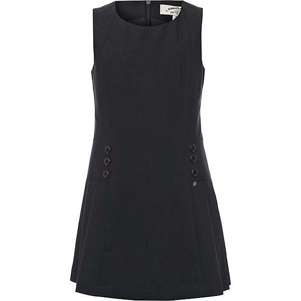 Платье для девочки Finn FlareПлатья и сарафаны<br>Платье для девочки известной марки Finn Flare.<br><br>Платье из разряда школьной формы для повседневной носки имеет приталенный силуэт, декорировано пуговицами по бокам, имеет горловину округлой формы. Сзади застегивается на молнию. Платье сочетается с блузками и джемперами.  <br><br>Фактура материала: Текстильный<br>Вид застежки: Молния<br>Длина рукава: Без рукавов<br>Тип карманов: Без карманов<br><br>Состав: 65% полиэстер, 33% вискоза, 2% эластан <br>Подкладка: 100% полиэстер<br><br>Платье для девочки Finn Flare можно купить в нашем интернет-магазине.<br>Ширина мм: 236; Глубина мм: 16; Высота мм: 184; Вес г: 177; Цвет: синий; Возраст от месяцев: 60; Возраст до месяцев: 72; Пол: Женский; Возраст: Детский; Размер: 116,158,152,146,140,134,128,122; SKU: 4890212;
