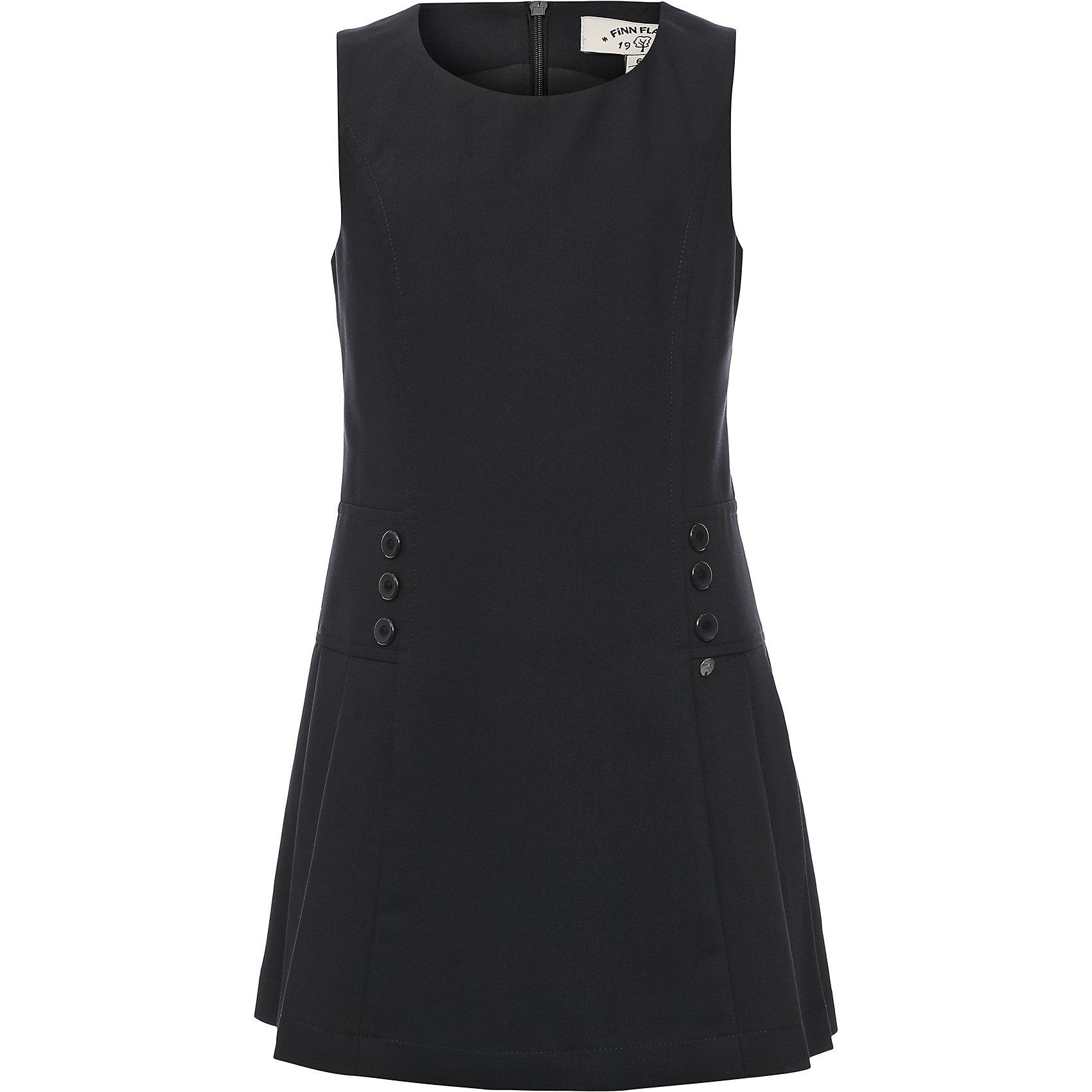 Платье для девочки Finn FlareПлатья и сарафаны<br>Платье для девочки известной марки Finn Flare.<br><br>Платье из разряда школьной формы для повседневной носки имеет приталенный силуэт, декорировано пуговицами по бокам, имеет горловину округлой формы. Сзади застегивается на молнию. Платье сочетается с блузками и джемперами.  <br><br>Фактура материала: Текстильный<br>Вид застежки: Молния<br>Длина рукава: Без рукавов<br>Тип карманов: Без карманов<br><br>Состав: 65% полиэстер, 33% вискоза, 2% эластан <br>Подкладка: 100% полиэстер<br><br>Платье для девочки Finn Flare можно купить в нашем интернет-магазине.<br><br>Ширина мм: 236<br>Глубина мм: 16<br>Высота мм: 184<br>Вес г: 177<br>Цвет: синий<br>Возраст от месяцев: 60<br>Возраст до месяцев: 72<br>Пол: Женский<br>Возраст: Детский<br>Размер: 116,158,122,128,134,140,146,152<br>SKU: 4890212
