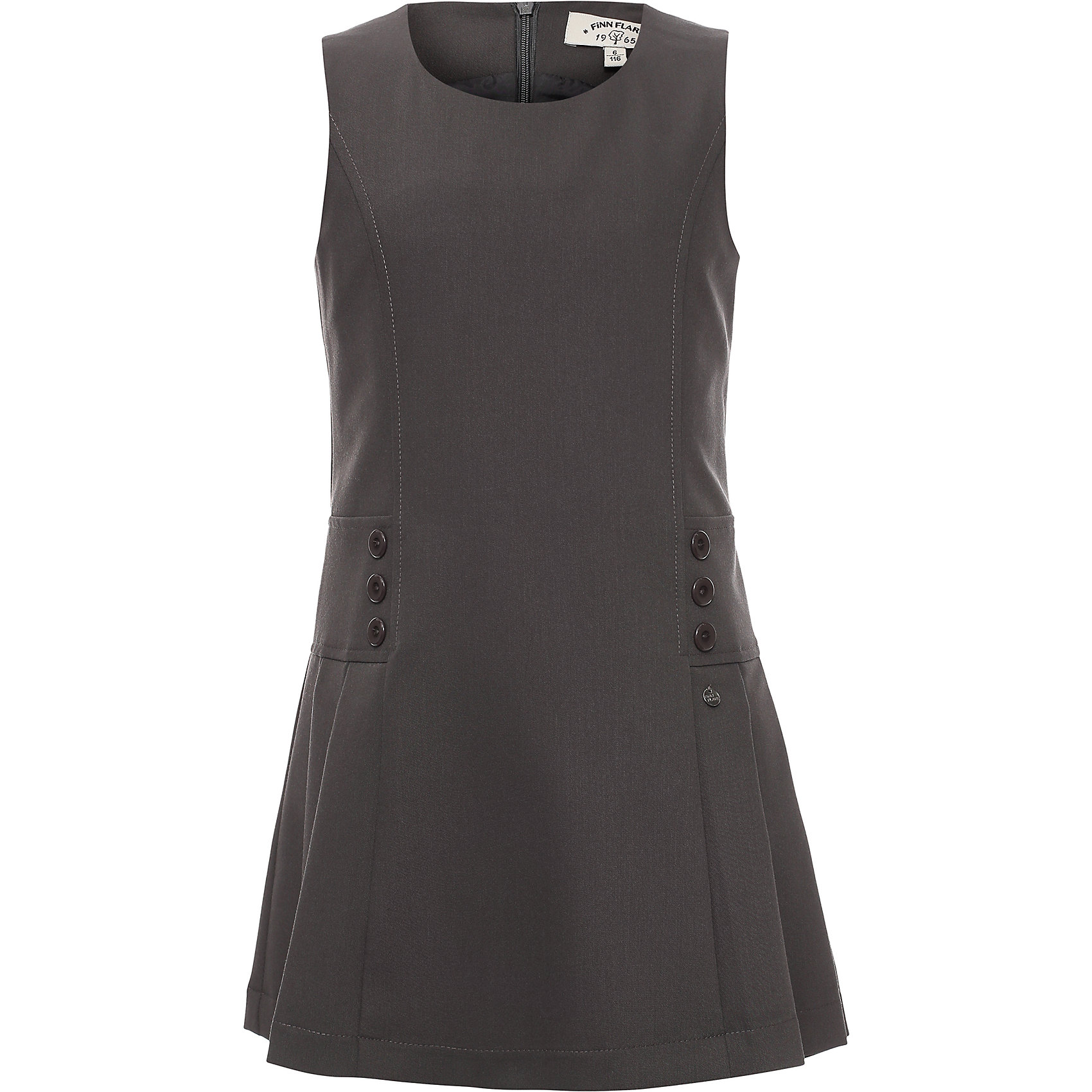 Платье для девочки Finn FlareПлатье для девочки известной марки Finn Flare.<br><br>Платье из разряда школьной формы для повседневной носки имеет приталенный силуэт, декорировано пуговицами по бокам, имеет горловину округлой формы. Сзади застегивается на молнию. Платье сочетается с блузками и джемперами.  <br><br>Фактура материала: Текстильный<br>Вид застежки: Молния<br>Длина рукава: Без рукавов<br>Тип карманов: Без карманов<br><br>Состав: 65% полиэстер, 33% вискоза, 2% эластан <br>Подкладка: 100% полиэстер<br><br>Платье для девочки Finn Flare можно купить в нашем интернет-магазине.<br><br>Ширина мм: 236<br>Глубина мм: 16<br>Высота мм: 184<br>Вес г: 177<br>Цвет: серый<br>Возраст от месяцев: 144<br>Возраст до месяцев: 156<br>Пол: Женский<br>Возраст: Детский<br>Размер: 158,116,152,146,140,134,128,122<br>SKU: 4890221