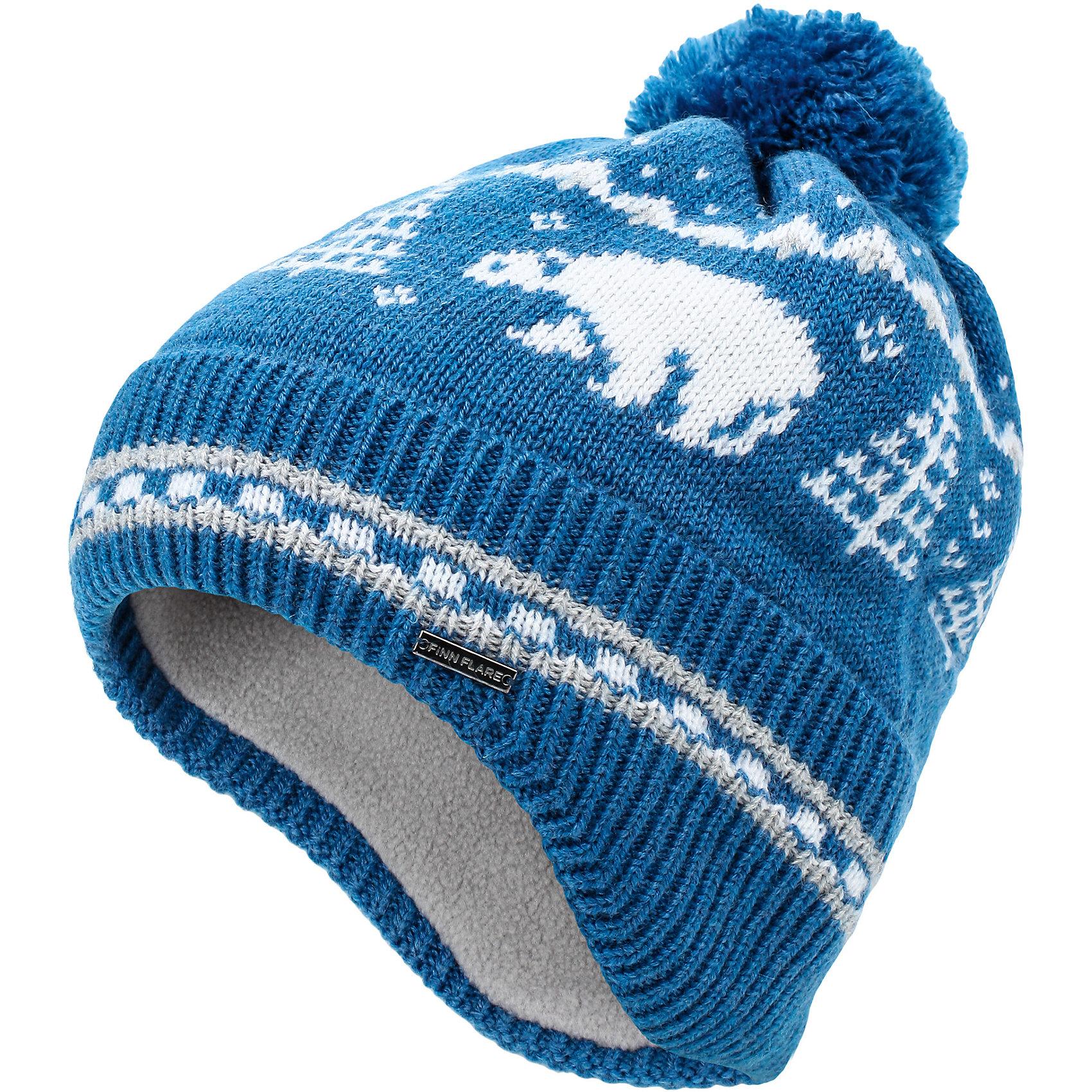 Шапка для мальчика Finn FlareДетская шапочка для мальчика украшена изображением белого мишки. Вязаная шерстяная шапка на мягкой подкладке предназначена для холодной осени и ранней весны. На задней части шапочки имеется удлиненный манжет, который защищает шейку ребенка от ветра и холода. Шапка дополнена круглым помпоном из ниток в тон шапки. <br><br>Состав: 60% шерсть, 40% акрил<br>Подкладка: 100% полиэстер<br><br>Шапку для мальчика Finn Flare можно купить в нашем интернет-магазине.<br><br>Ширина мм: 89<br>Глубина мм: 117<br>Высота мм: 44<br>Вес г: 155<br>Цвет: синий<br>Возраст от месяцев: 60<br>Возраст до месяцев: 72<br>Пол: Мужской<br>Возраст: Детский<br>Размер: 54<br>SKU: 4890376