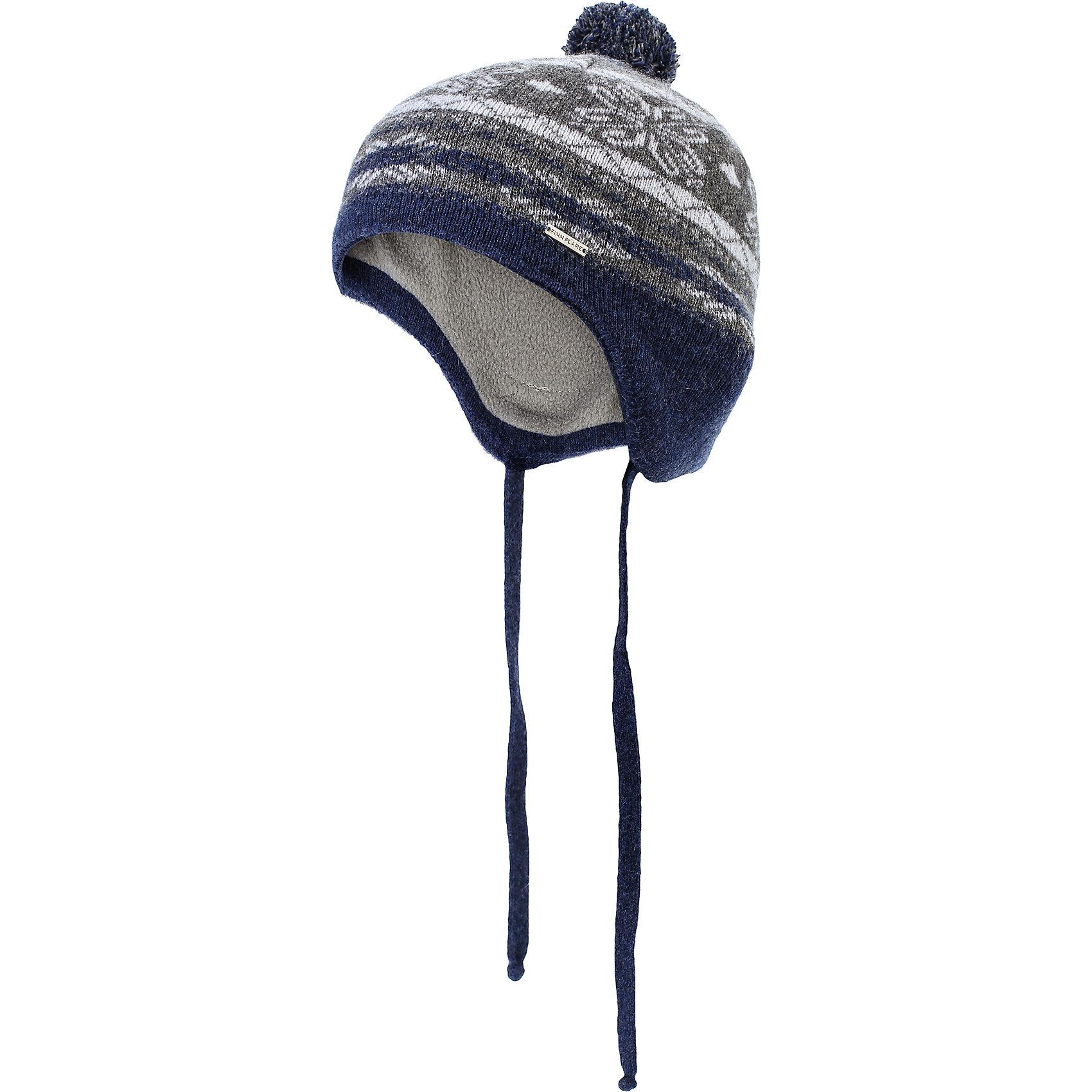 Шапка для мальчика Finn FlareШапка известной марки Finn Flare.<br><br>Детская шапка на подкладке дополнена завязками, которые позволяют хорошо надеть шапку и туго ее завязать, чтобы надежно защитить ребенка от воздействия холодного ветра. Удлиненный мыс шапки в задней ее части дополнительно защищает и шею ребенка. Шапка украшена помпоном, декорирована принтом «снежинки и ромбы». Надевать шапку рекомендуется в период осенних холодов. <br><br>Состав: 80% шерсть, 20% нейлон<br>Подкладка: 100% полиэстер<br><br>Шапку для мальчика Finn Flare можно купить в нашем интернет-магазине.<br><br>Ширина мм: 89<br>Глубина мм: 117<br>Высота мм: 44<br>Вес г: 155<br>Цвет: серый<br>Возраст от месяцев: 48<br>Возраст до месяцев: 60<br>Пол: Мужской<br>Возраст: Детский<br>Размер: 52<br>SKU: 4890394