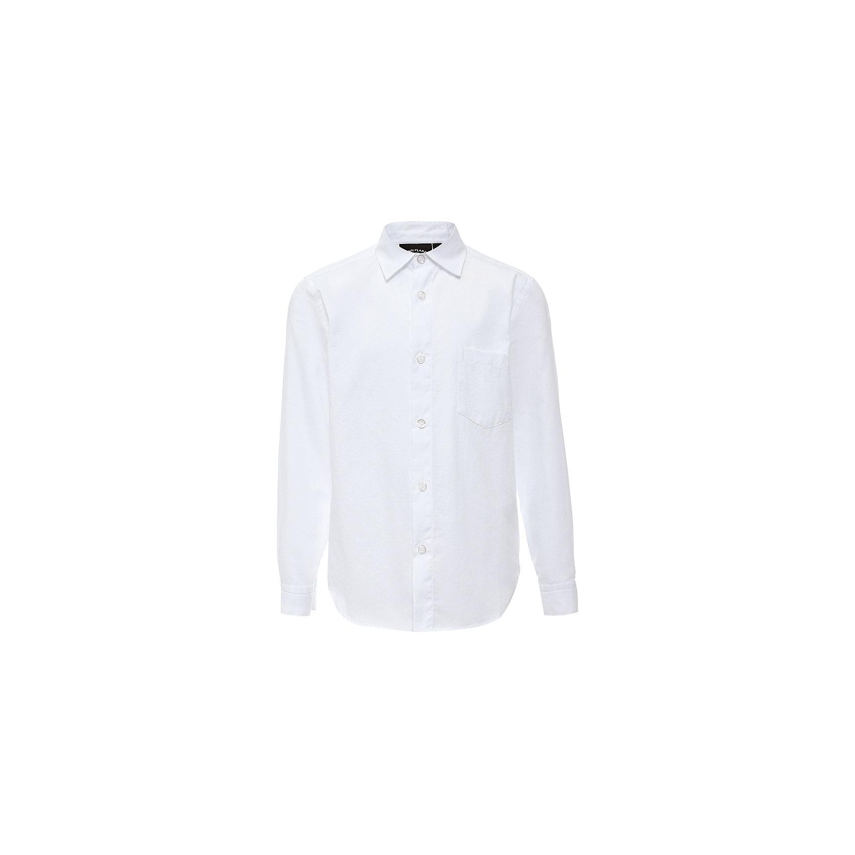 Рубашка для мальчика Finn FlareБлузки и рубашки<br>Рубашка для мальчика известной марки Finn Flare.<br><br>Школьная рубашка для мальчика предназначена для повседневной носки. Рубашка сочетается с брюками и джинсами, наверх можно надеть джемпер. Рубашка застегивается на пуговицы, есть манжеты на пуговицах и нагрудный карман. Рубашка легко стирается и гладится, полностью хлопковая, приятная к телу. <br><br>Фактура материала: Текстильный<br>Вид застежки: Пуговицы<br>Длина рукава: Длинные<br>Тип карманов: Накладные<br><br>Состав: 100% хлопок<br><br>Рубашку для мальчика Finn Flare можно купить в нашем интернет-магазине.<br><br>Ширина мм: 174<br>Глубина мм: 10<br>Высота мм: 169<br>Вес г: 157<br>Цвет: белый<br>Возраст от месяцев: 144<br>Возраст до месяцев: 156<br>Пол: Мужской<br>Возраст: Детский<br>Размер: 158,116,122,128,134,140,146,152<br>SKU: 4890436
