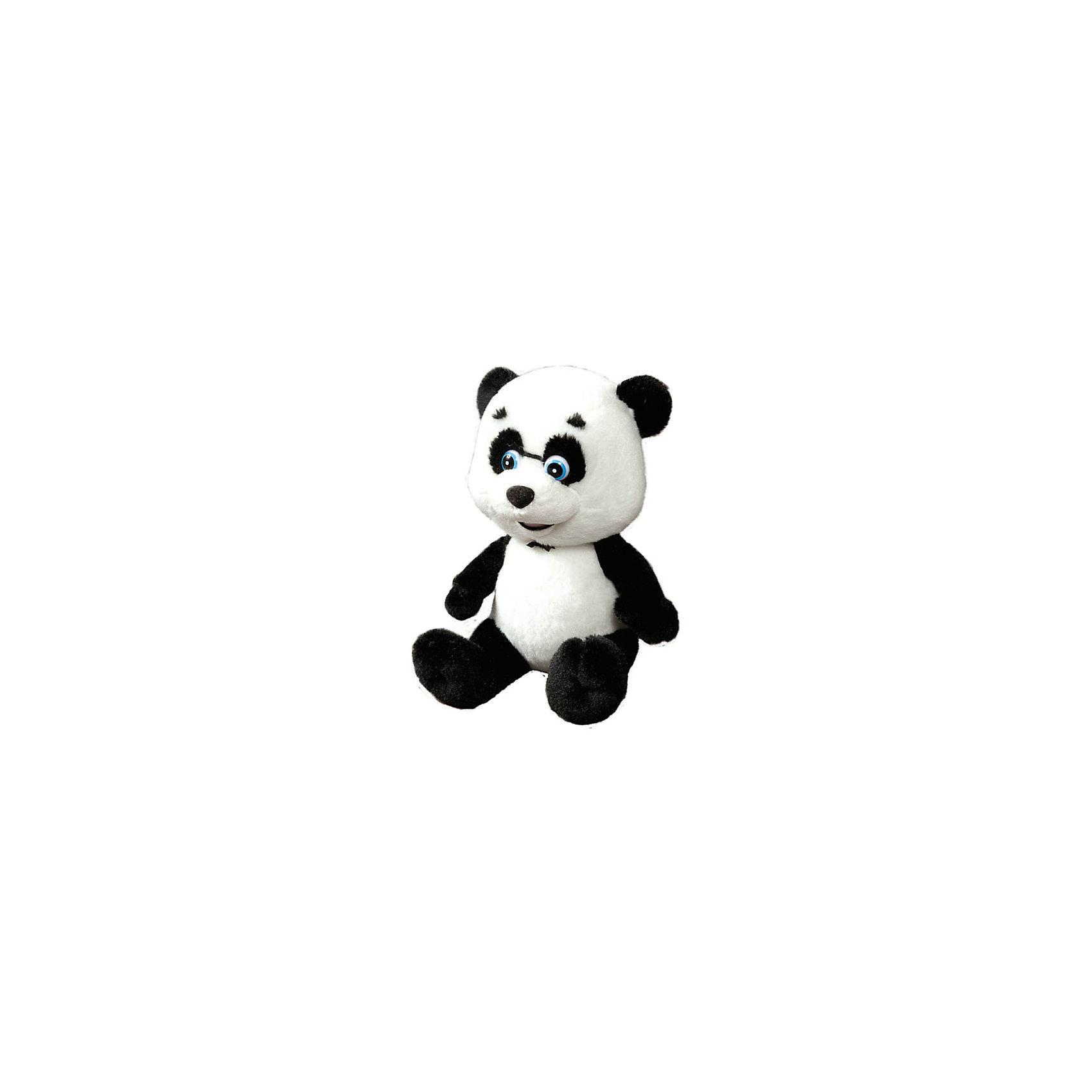 Мягкая игрушка Панда, 23см, со звуком, Маша и Медведь, МУЛЬТИ-ПУЛЬТИТакой очаровательный музыкальный мишка не оставит равнодушным ни одного ребенка!<br><br>Особенности:<br>- Мишка это один из героев мультфильма Маша и медведь- Панда.<br>- Если нажать Панде на животик, то она будет петь песни из мультфильма : Солнечные зайчики и Зверя по следам любого.<br>- Внутри Панды находится мягкий гипоаллергенный наполнитель, а снаружи она покрыта приятным на ощупь плюшем с бархатистой фактурой.<br><br>Дополнительная информация:<br><br>- Возраст: от 1 года.<br>- Высота игрушки: 23 см.<br>- Работает на батарейках.<br>- Материал: плюш, наполнитель.<br>- Размер упаковки: 15х25х40 см.<br>- Вес в упаковке: 330 г.<br><br>Купить мягкую игрушку Панда из мультфильма Маша и медведь можно в нашем магазине.<br><br>Ширина мм: 150<br>Глубина мм: 400<br>Высота мм: 250<br>Вес г: 330<br>Возраст от месяцев: 12<br>Возраст до месяцев: 60<br>Пол: Унисекс<br>Возраст: Детский<br>SKU: 4891773