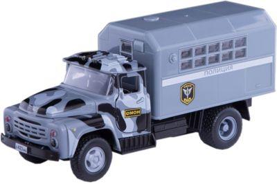 ТЕХНОПАРК Машина Зил 130: Полиция ОМОН , 20см, инерционная, со звуком и светом, Технопарк