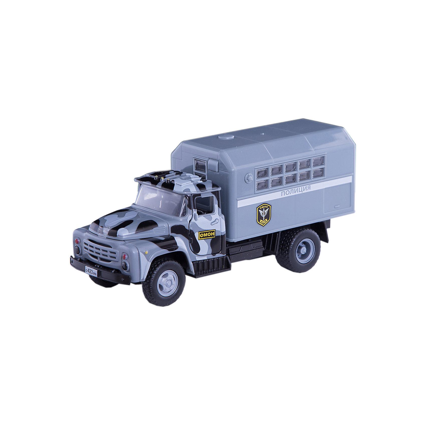 ТЕХНОПАРК Машина Зил 130: Полиция ОМОН, 20см, инерционная, со звуком и светом, Технопарк игрушка технопарк зил 130 бензовоз x600 h09131 r