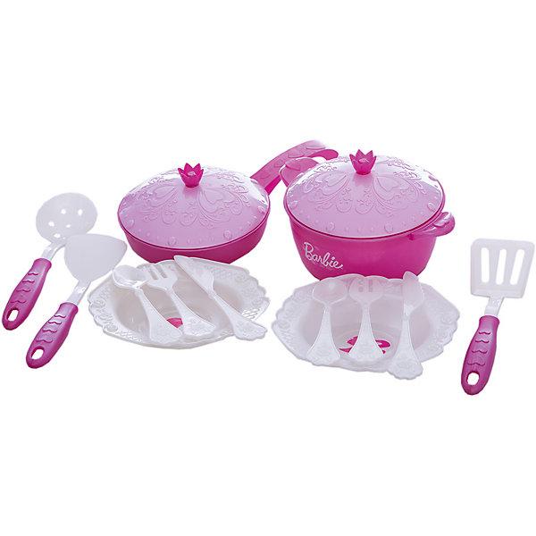 Набор кухонной посудки, 15 предм, Барби, НордпластBarbie<br>С таким красивым набором посуды Ваша принцесса быстро научиться самостоятельно и правильно сервировать стол и будет с радость помогать Вам во время ужинов. Так же, посуда прекрасно подойдет для игрушечных посиделок и чаепитий с друзьями.<br><br>Дополнительная информация:<br><br>- Возраст: от 3 лет.<br>- Цвет: розовый, белый.<br>- В комплекте: кастрюлька, сковородка с крышечками, две пары столовых приборов, две тарелки, две лопаточки для помешивания и шумовка (15 предметов).<br>- Материал: высококачественная пластмасса.<br>- Размер упаковки: 24х35х9 см.<br>- Вес в упаковке: 300 г.<br><br>Купить набор кухонной посуды Барби можно в нашем магазине.<br><br>Ширина мм: 240<br>Глубина мм: 350<br>Высота мм: 90<br>Вес г: 300<br>Возраст от месяцев: 36<br>Возраст до месяцев: 84<br>Пол: Женский<br>Возраст: Детский<br>SKU: 4894769