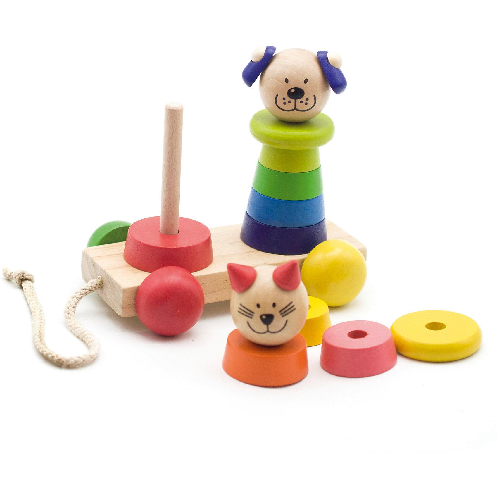 Пирамидка-каталка Кот и собакаПирамидка-каталка Кот и собака – веселая и развивающая игрушка!<br>Игрушка сделана из хорошо отшлифованного натурального дерева, что делает ее безопасной для детей. Пирамидки полностью разборные, с яркими разноцветными колечками. Верхушки пирамидок – мордочки кошечки и собачки. Пирамидка имеет веревочку и удобные деревянные колесики, поэтому она легко катается.<br>Дополнительная информация:<br>- размер: 130х70х90<br>- вес: 400г<br>- материал: дерево <br>- возраст: от 1 года<br><br>Пирамидка-каталка Кот и собака можно купить в нашем интернет-магазине.<br><br>Ширина мм: 130<br>Глубина мм: 70<br>Высота мм: 90<br>Вес г: 400<br>Возраст от месяцев: 36<br>Возраст до месяцев: 2147483647<br>Пол: Унисекс<br>Возраст: Детский<br>SKU: 4895869
