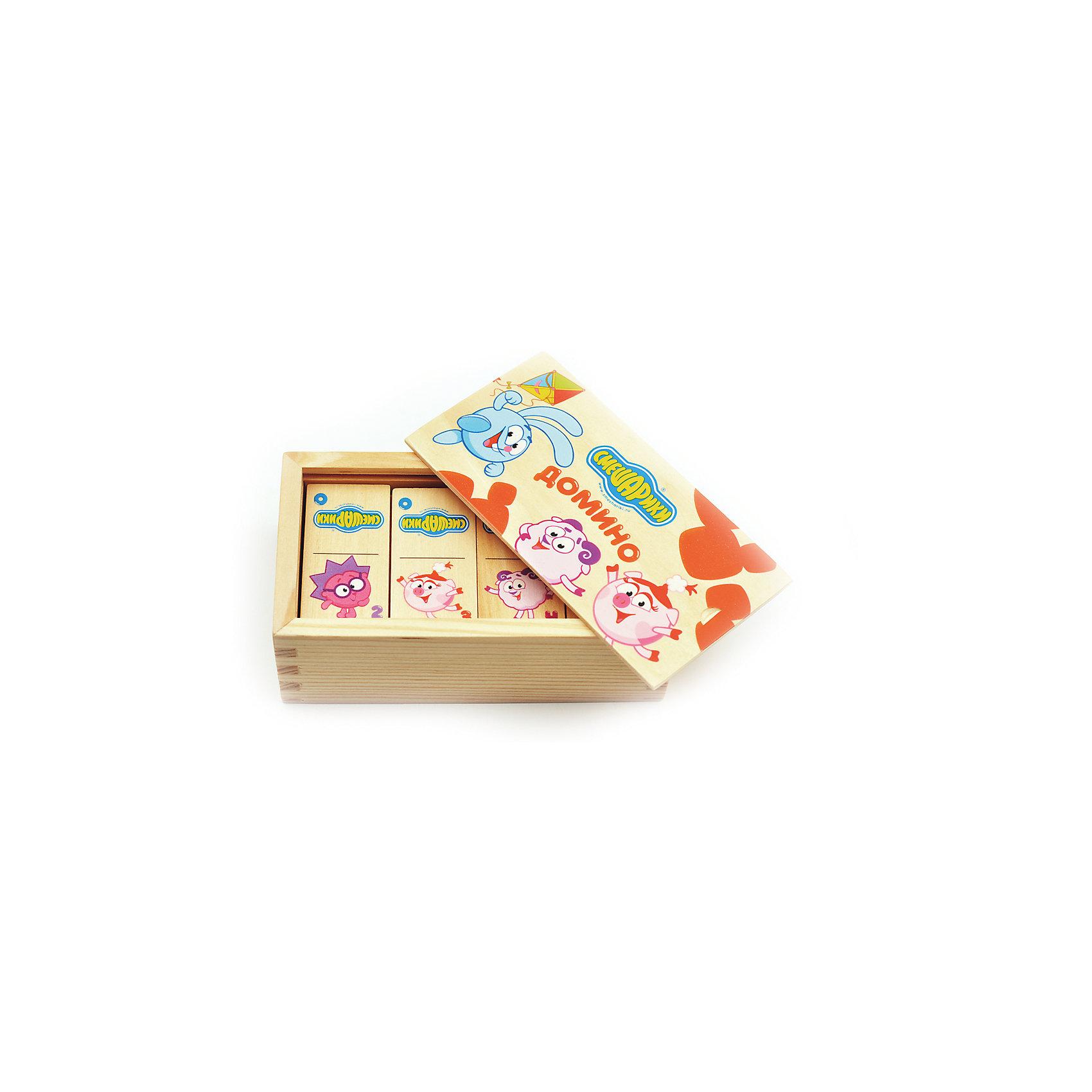 Домино Смешарики, Мир деревянных игрушекДомино Смешарики – игра из детства с современными героями!<br>Домино – это не только интересный досуг, но и развивающая игра для самых маленьких. Благодаря качественной натуральной древесине игра безопасна для детей любого возраста. Яркие цветные картинки не тускнеют и будут радовать долгое время. Костяшки с героями Смешариков запакованы в удобный деревянный ящик с такими же красивыми картинками. <br><br>Дополнительная информация:<br>- размер: 140х80х50<br>- вес: 249г<br>- материал: дерево <br>- возраст: от 3 лет<br><br>Домино Смешарики можно купить в нашем интернет-магазине.<br><br>Ширина мм: 140<br>Глубина мм: 80<br>Высота мм: 50<br>Вес г: 249<br>Возраст от месяцев: 36<br>Возраст до месяцев: 2147483647<br>Пол: Унисекс<br>Возраст: Детский<br>SKU: 4895872