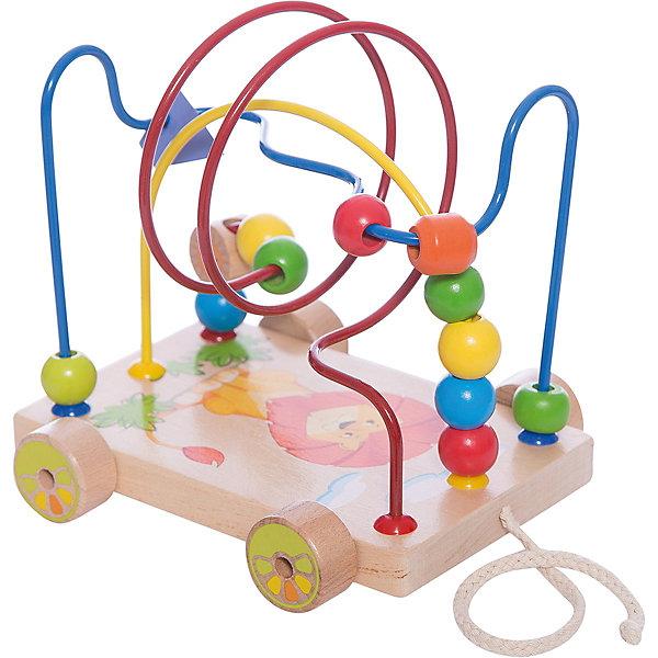 Лабиринт-каталка Львенок, Мир деревянных игрушекКаталки и качалки<br>Лабиринт-каталка Львенок – веселье и развитие в одной игрушке.<br>Игрушка состоит из небольшой платформы на колесиках, к которой прикреплена веревочка, чтобы было удобно ее катить. На самой платформе расположен лабиринт, состоящий из множества разных металлических прутиков. На прутиках располагаются фигурки различных цветов, изготовленные из качественного дерева. Сама платформа также из натуральной древесины с рисунком льва. Игрушка способствует развитию мелкой моторики и логики.<br>Дополнительная информация:<br>- размер: 170х140х180<br>- вес: 633г<br>- материал: дерево и металл<br>- возраст: от 12 месяцев<br><br>Лабиринт-каталку Львенок можно купить в нашем интернет-магазине.<br>Ширина мм: 170; Глубина мм: 140; Высота мм: 180; Вес г: 633; Возраст от месяцев: 36; Возраст до месяцев: 2147483647; Пол: Унисекс; Возраст: Детский; SKU: 4895898;