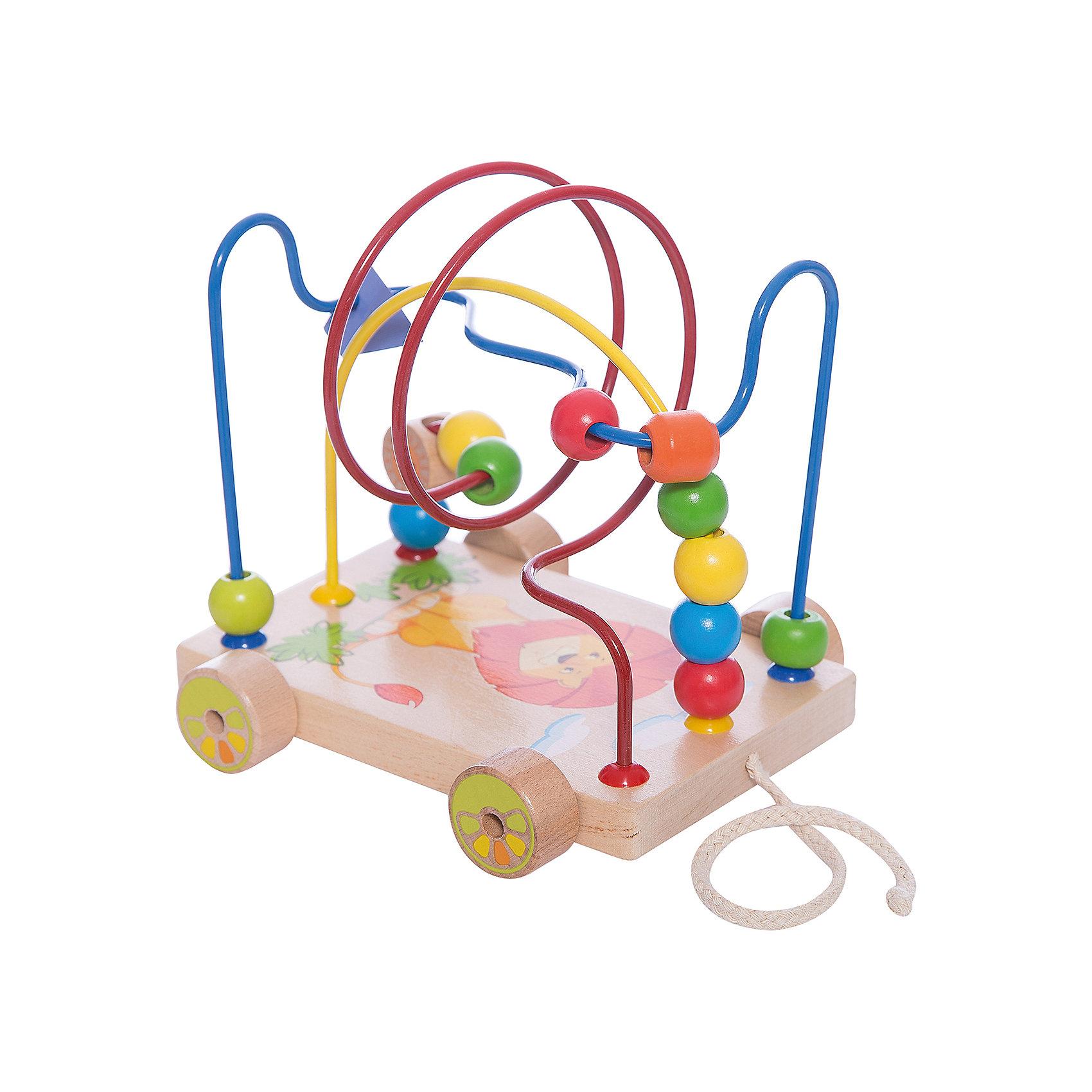 МДИ Лабиринт-каталка Львенок, Мир деревянных игрушек игрушка мир деревянных игрушек лабиринт каталка крокодил д362