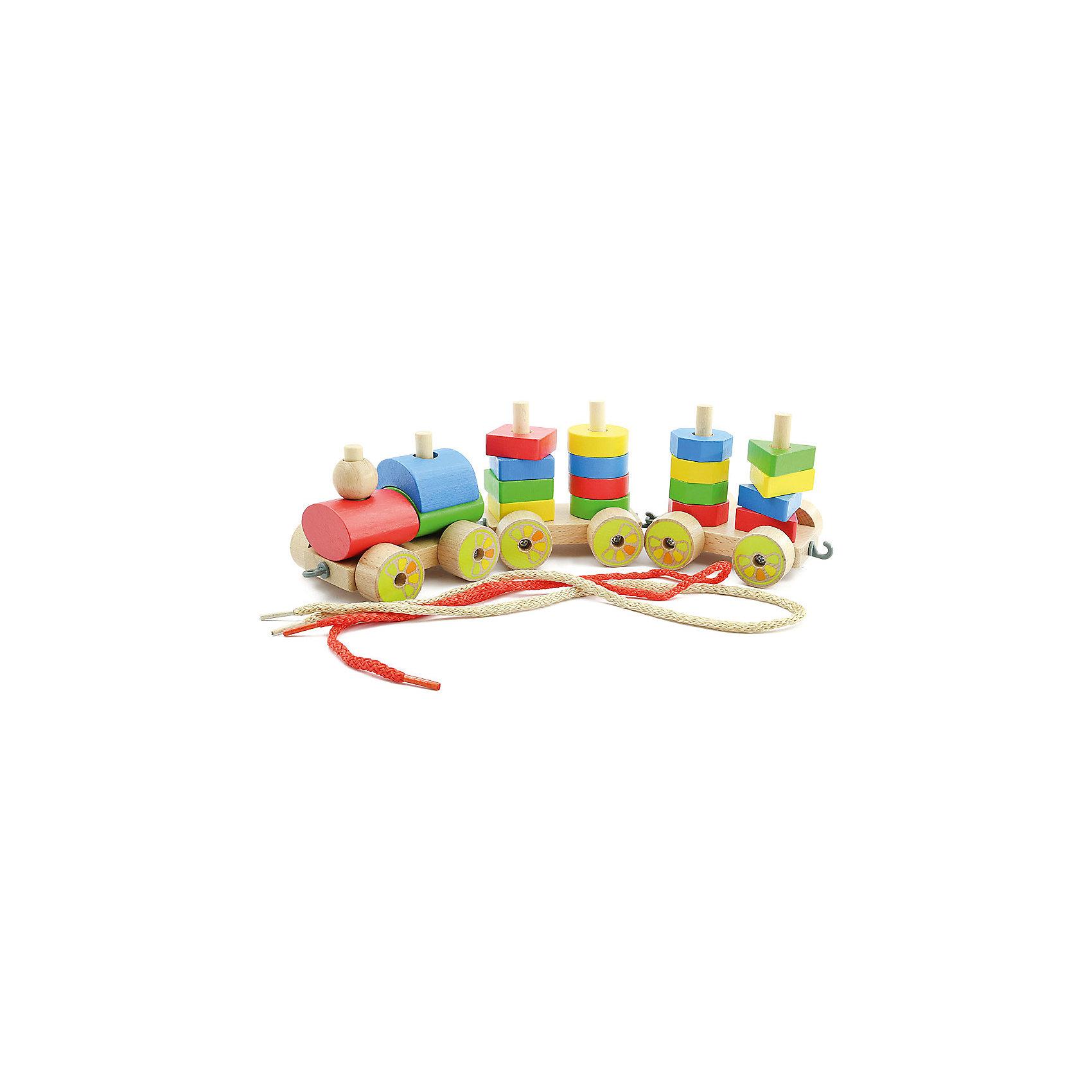 Паровозик (малый), Мир деревянных игрушекМДИ (Мир деревянных игрушек)<br>Этот яркий паровозик приведет в восторг любого малыша! Колеса игрушки подвижные, вагоны без труда прицепляются друг к другу и представляют собой пирамидки различной формы.<br>Малышу будет интересно самому собрать оригинальный паровозик и потом весело играть с ним. Надо лишь надеть нужные детали на деревянные штырьки на платформе с колесами.<br>Все детали игрушки изготовлены из натурального дерева, раскрашены гипоаллергенными, экологичными красителями, не имеют острых углов, прекрасно обработаны - абсолютно безопасны для детей.<br>Игры с конструктором развивают мелкую моторику, усидчивость, внимание, пространственное мышление, цветовосприятие.<br><br>Дополнительная информация:<br><br>- Возраст: от 3-х лет.<br>- Материал: дерево. <br>- Длина паровозика с вагонами: 33 см.<br>- Длина вагона: 10 см.<br><br>Паровозик (малый) можно купить в нашем магазине.<br><br>Ширина мм: 165<br>Глубина мм: 115<br>Высота мм: 100<br>Вес г: 425<br>Возраст от месяцев: 36<br>Возраст до месяцев: 2147483647<br>Пол: Унисекс<br>Возраст: Детский<br>SKU: 4895904