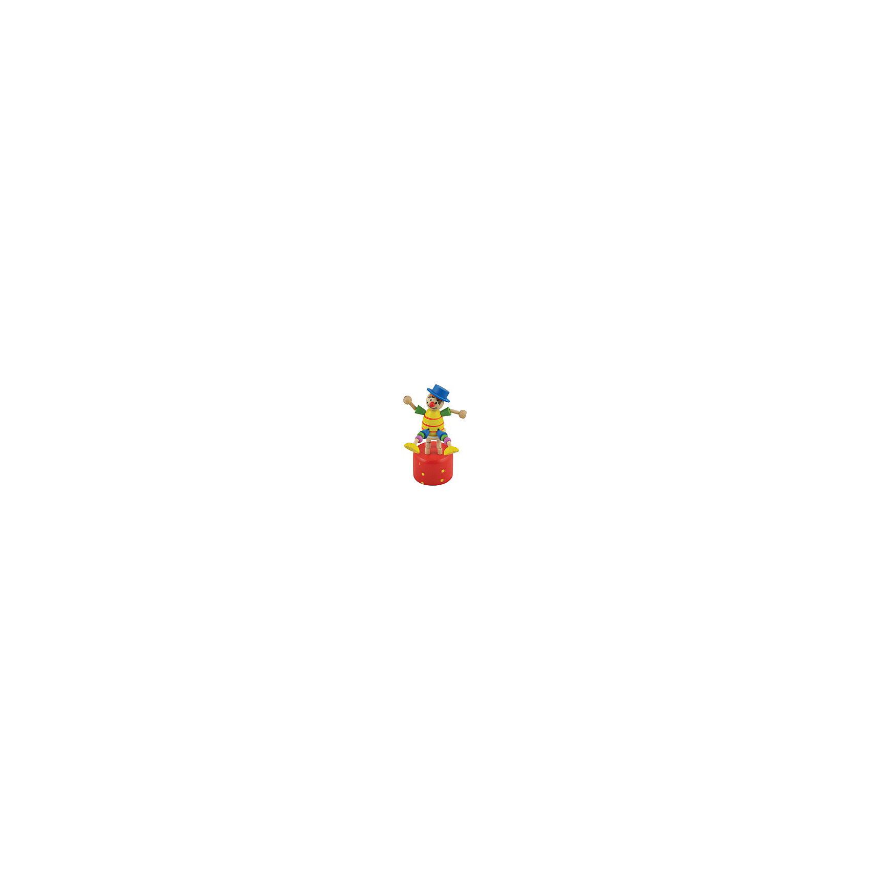 Дергунчик Клоун на стуле, Мир деревянных игрушекЭта оригинальная игрушка обязательно понравится малышам! Очаровательный и смешной клоун сидит на высоком стуле, он одет в яркую одежду, на голове - забавный синий котелок.  Клоун умеет весело дергать ручками и ножками, а если нажать на кнопку, расположенную под сиденьем, игрушка забавно поднимется. <br>Клоун изготовлен из натурального дерева, раскрашен стойкими нетоксичными красителями абсолютно безвредными даже для маленьких детей. <br><br>Дополнительная информация:<br><br>- Возраст: от 1 года.<br>- Материал: дерево.<br>- Размер: 15х5 см. <br><br>Игрушку - дергунчик Клоун на стуле (мин. 12 шт. в упаковке) можно купить в нашем магазине.<br><br>Ширина мм: 110<br>Глубина мм: 50<br>Высота мм: 110<br>Вес г: 50<br>Возраст от месяцев: 36<br>Возраст до месяцев: 2147483647<br>Пол: Унисекс<br>Возраст: Детский<br>SKU: 4895906