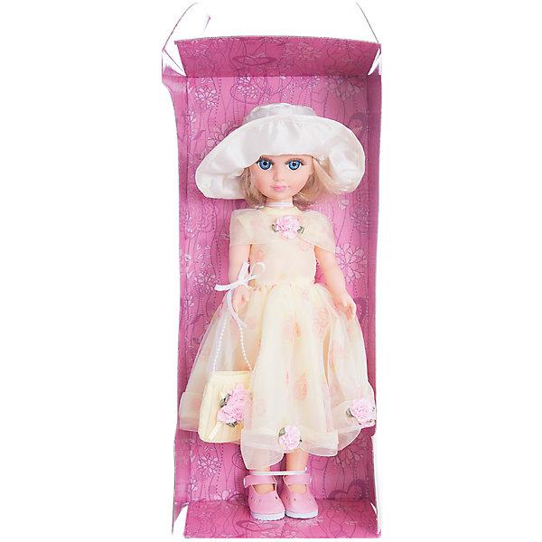 Кукла Анастасия - Лето, со звуком, 40 см, ВеснаКуклы<br>Характеристики:<br><br>• тип игрушки: кукла;<br>• комплектация: кукла, одежда, батарейки;<br>• возраст: от 3 лет;<br>• тип питания: батарейки (в комплекте);<br>• размер: 40 см;<br>• бренд: Весна<br>• производство: Россия;<br>• упаковка: картонная коробка блистерного типа;<br>• материал: винил, пластик, текстиль, нейлон.<br><br>Кукла по имени Анастасия - Лето со звуком от российского производителя Весна – это очень миловидный малыш, который станет для ребенка не только любимой куклой, но и интересным спутником для интересных ролевых игр. Кукла выполнена в очень реалистичном стиле, по этому ребенок будет о ней заботится и ухаживать с радостью и вниманием. Ее с легкостью можно будет раздевать и одевать, собираясь на прогулку или в гости, менять её образ, создавая разнообразные новые причёски. Куколка реалистично закроет глазки, если её уложить спать и сможет поддержать беседу о музыке и танцах.<br><br>Высота Анастасии 40 см. Ее одежда состоит из платья и шляпки лимонного цвета, в руках у нее сумочка в тон наряду. На ножках у нее аккуратные ботиночки. Всю одежду можно снимать и надевать обратно. Кукла выполнена с очень высокой степенью детализации. Волосы сделаны из качественного материала, по этому Анастасию можно расчесывать и делать ей разные прически. У куклы подвижные соединения, по этому она очень подвижна. Ее туловище изготовлено из пластика, а руки и лицо из винила. Благодаря звуковому модулю кукла может произносить до восьми фраз.<br><br>Кукла имеет всю требуемую сертификацию и отвечает предъявляемым нормам и требованиям ТР ТС к игрушкам. Не вызывает аллергию и не выделяет неприятные запахи при использовании. Так же стоит обратить внимание на то, что производитель оставляет за собой право изменения цветовой гаммы, фасона одежды и волос куклы, цвет глаз так же может варьироваться.<br><br>Куклу по имени Анастасия - Лето со звуком можно купить в нашем интернет-магазине.<br>Ширина мм: 290; Глубина мм: 210; Выс