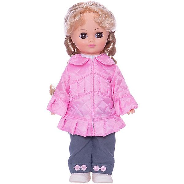 Кукла Олеся 6, со звуком, 36 см, ВеснаКуклы<br>Характеристики:<br><br>• тип игрушки: кукла;<br>• комплектация: кукла, одежда, батарейки;<br>• возраст: от 3 лет;<br>• тип питания: батарейки (в комплекте);<br>• размер: 36 см;<br>• бренд: Весна<br>• производство: Россия;<br>• упаковка: картонная коробка блистерного типа;<br>• материал: винил, пластик, текстиль, нейлон.<br><br>Кукла по имени Олеся 6 со звуком от российского производителя Весна – это очень миловидный малыш, который станет для ребенка не только любимой куклой, но и интересным спутником для интересных ролевых игр. Кукла выполнена в очень реалистичном стиле, по этому ребенок будет о ней заботится и ухаживать с радостью и вниманием. Ее с легкостью можно будет раздевать и одевать, собираясь на прогулку или в гости, менять её образ, создавая разнообразные новые причёски. Куколка реалистично закроет глазки, если её уложить спать и сможет поддержать беседу о музыке и танцах.<br><br>Высота Олеси 36 см. Ее одежда состоит из брюк и кофточки с рюшами. На ножках у нее белые ботиночки. Всю одежду можно снимать и надевать обратно. Кукла выполнена с очень высокой степенью детализации. Волосы сделаны из качественного материала, по этому Олесю можно расчесывать и делать ей разные прически. У куклы подвижные соединения, по этому она очень подвижна. Ее туловище изготовлено из пластика, а руки и лицо из винила. Благодаря звуковому модулю кукла может произносить до восьми фраз.<br><br>Кукла имеет всю требуемую сертификацию и отвечает предъявляемым нормам и требованиям ТР ТС к игрушкам. Не вызывает аллергию и не выделяет неприятные запахи при использовании. Так же стоит обратить внимание на то, что производитель оставляет за собой право изменения цветовой гаммы, фасона одежды и волос куклы, цвет глаз так же может варьироваться.<br><br>Куклу по имени Олеся 6 со звуком можно купить в нашем интернет-магазине.<br>Ширина мм: 120; Глубина мм: 170; Высота мм: 360; Вес г: 520; Возраст от месяцев: 36; Возраст до месяцев: 144; Пол: Женс