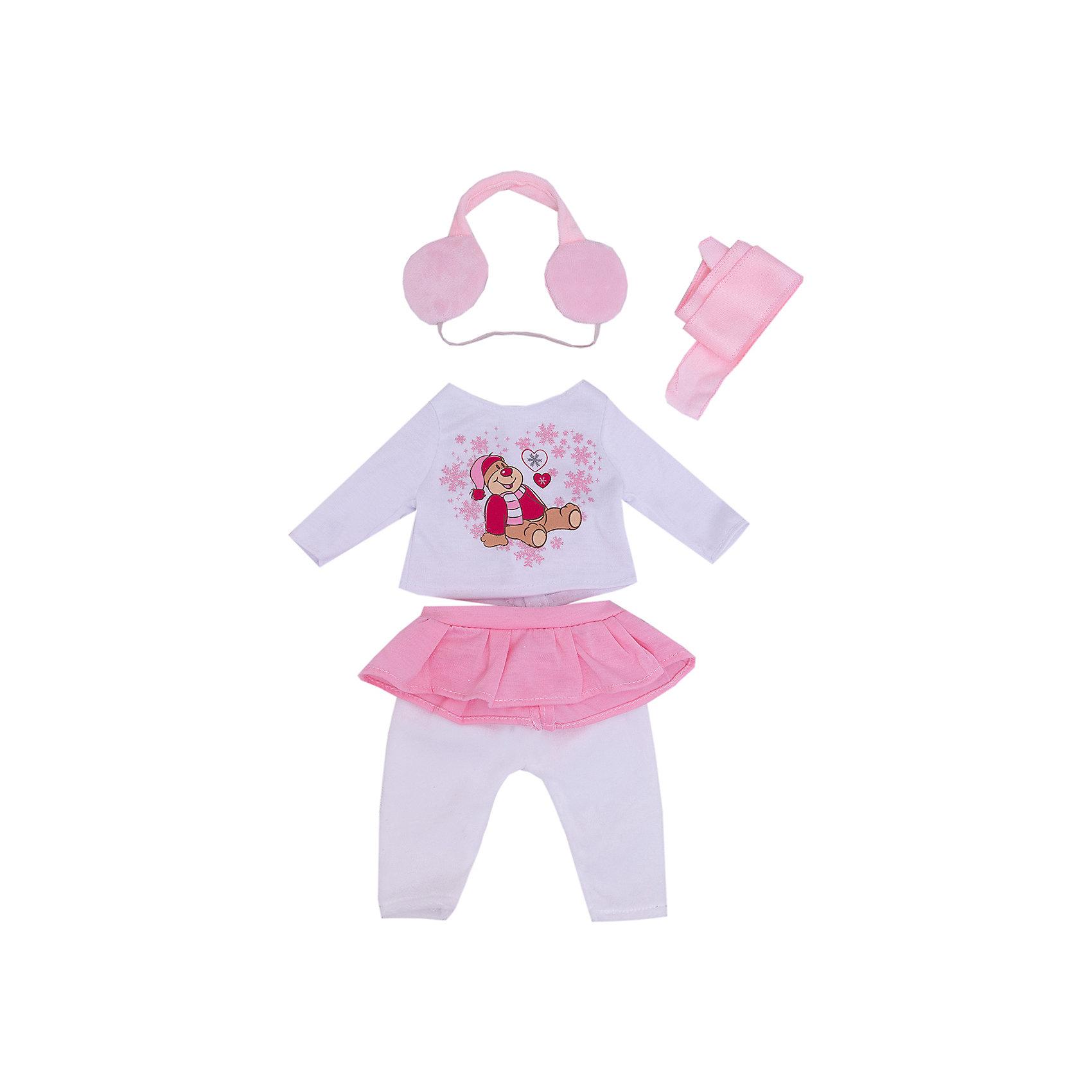 Одежда для кукол Кофточка, штаны, шарф, головной убор, наушникиОдежда для кукол: кофточка, штаны, шарф, головной убор наушники, размер: 30x20см, текстильные материалы, от 1 года<br><br>Ширина мм: 300<br>Глубина мм: 200<br>Высота мм: 10<br>Вес г: 521<br>Возраст от месяцев: 36<br>Возраст до месяцев: 144<br>Пол: Женский<br>Возраст: Детский<br>SKU: 4896507