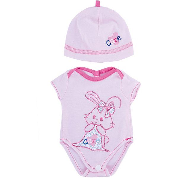 Одежда для кукол Розовое боди в наборе с шапочкойОдежда для кукол<br>Одежда для кукол: боди (розовый цвет) в наборе с шапочкой, размер: 30x20см, текстильные материалы, от 1 года<br>Ширина мм: 300; Глубина мм: 200; Высота мм: 10; Вес г: 521; Возраст от месяцев: 36; Возраст до месяцев: 144; Пол: Женский; Возраст: Детский; SKU: 4896508;