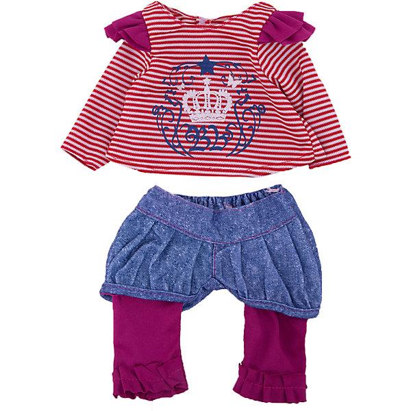 Одежда для кукол Кофточка и штаныОдежда для кукол<br>Характеристики:<br><br>• тип игрушки: одежда для кукол;<br>• возраст: от 3 лет;<br>• цвет: красный, синий;<br>• высота куклы: 14 см;<br>• размер: 30х22х2 см;<br>•комплект: кофта, штаны, вешалка;<br>• бренд: Junfa Toys;<br>• упаковка: пакет;<br>• материал: пластик, текстиль.<br><br>Одежда для кукол «Кофточка и штаны» JUNFA позволит ребенку украсить куклу одеждой. Одежда для кукол выполнена из приятного на ощупь текстиля высокого качества, а надёжные аккуратные швы обеспечат изделию долгий срок службы.  <br>Одев игрушку в эти яркие синие штанишки и кофточку в полоску, ее можно взять с собой на прогулку. <br><br>Декоративный принт с короной и узорами сделает внешний вид куклы еще более модным и стильным. В комплекте также предусмотрена яркая вешалка, с помощью которой малышкам будет удобнее хранить наряд в шкафу. Одежду можно по необходимости стирать в щадящем режиме, не боясь, что она потеряет цвет и форму.<br><br>Одежду для кукол «Кофточка и штаны» JUNFA можно купить в нашем интернет-магазине.<br>Ширина мм: 300; Глубина мм: 200; Высота мм: 10; Вес г: 521; Возраст от месяцев: 36; Возраст до месяцев: 144; Пол: Женский; Возраст: Детский; SKU: 4896509;