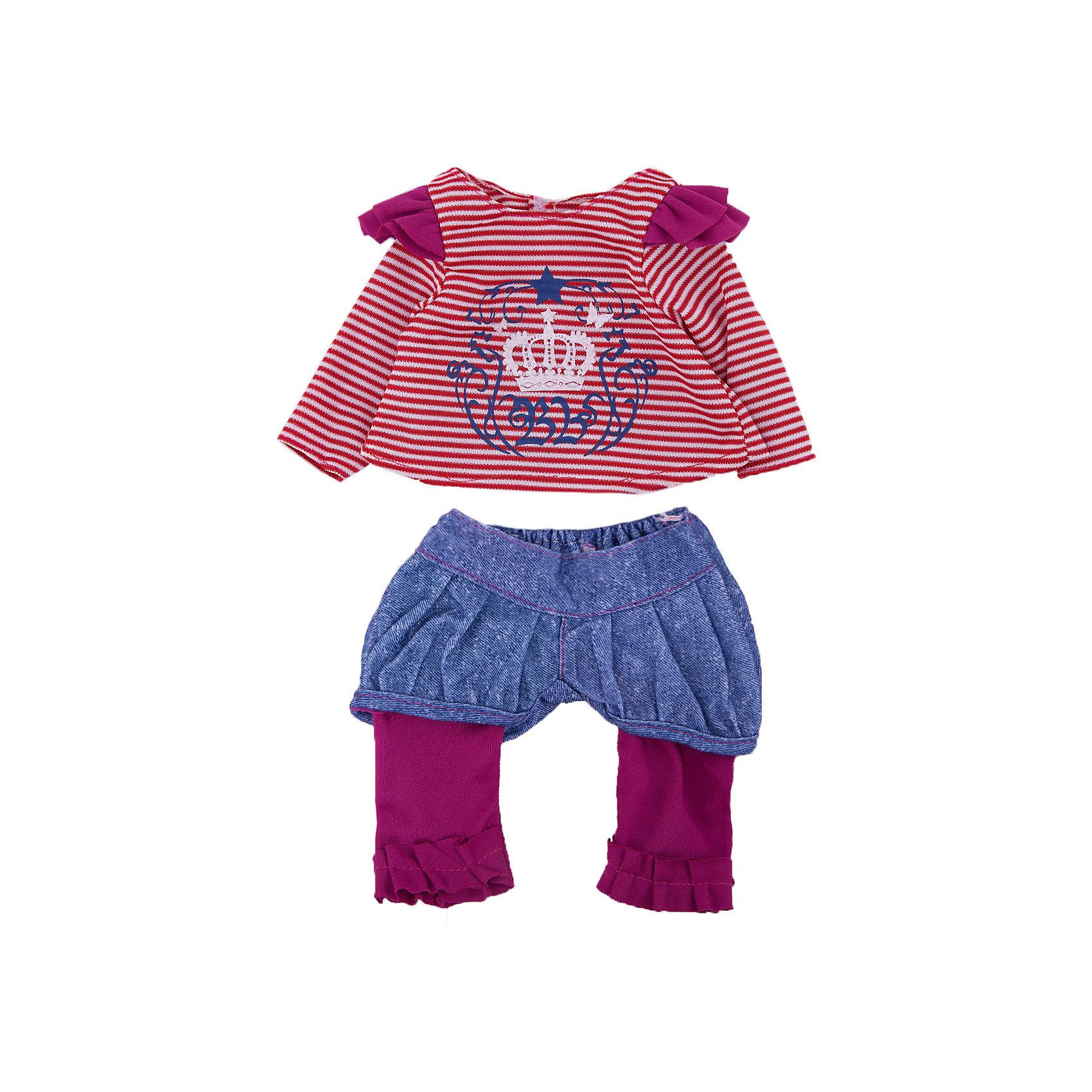 Одежда для кукол Кофточка и штаныКукольная одежда и аксессуары<br>Одежда для кукол: кофточка и штаны , размер: 30x20см, текстильные материалы, от 1 года<br><br>Ширина мм: 300<br>Глубина мм: 200<br>Высота мм: 10<br>Вес г: 521<br>Возраст от месяцев: 36<br>Возраст до месяцев: 144<br>Пол: Женский<br>Возраст: Детский<br>SKU: 4896509