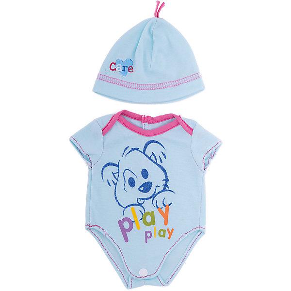 Одежда для кукол Голубое боди в наборе с шапочкойОдежда для кукол<br>Характеристики:<br><br>• тип игрушки: одежда для кукол;<br>• возраст: от 1 года;<br>• цвет: голубой;<br>• размер: 30 х20 см;<br>•комплект: боди, шапочка, вешалка;<br>• бренд: Junfa Toys;<br>• упаковка: пакет;<br>• материал: пластик, текстиль.<br><br>Одежда для кукол «Голубое боди в наборе с шапочкой» позволит ребенку украсить куклу одеждой. Одежда для кукол выполнена из приятного на ощупь текстиля высокого качества, а надёжные аккуратные швы обеспечат изделию долгий срок службы. А декоративный принт с медвежонком и надписями сделает внешний вид куклы еще более модным и стильным.<br><br>В комплекте также предусмотрена яркая вешалка, с помощью которой малышкам будет удобнее хранить наряд в шкафу. Одежду можно по необходимости стирать в щадящем режиме, не боясь, что она потеряет цвет и форму.<br><br>Одежду для кукол «Голубое боди в наборе с шапочкой» можно купить в нашем интернет-магазине.<br><br>Ширина мм: 300<br>Глубина мм: 200<br>Высота мм: 10<br>Вес г: 521<br>Возраст от месяцев: 36<br>Возраст до месяцев: 144<br>Пол: Женский<br>Возраст: Детский<br>SKU: 4896510