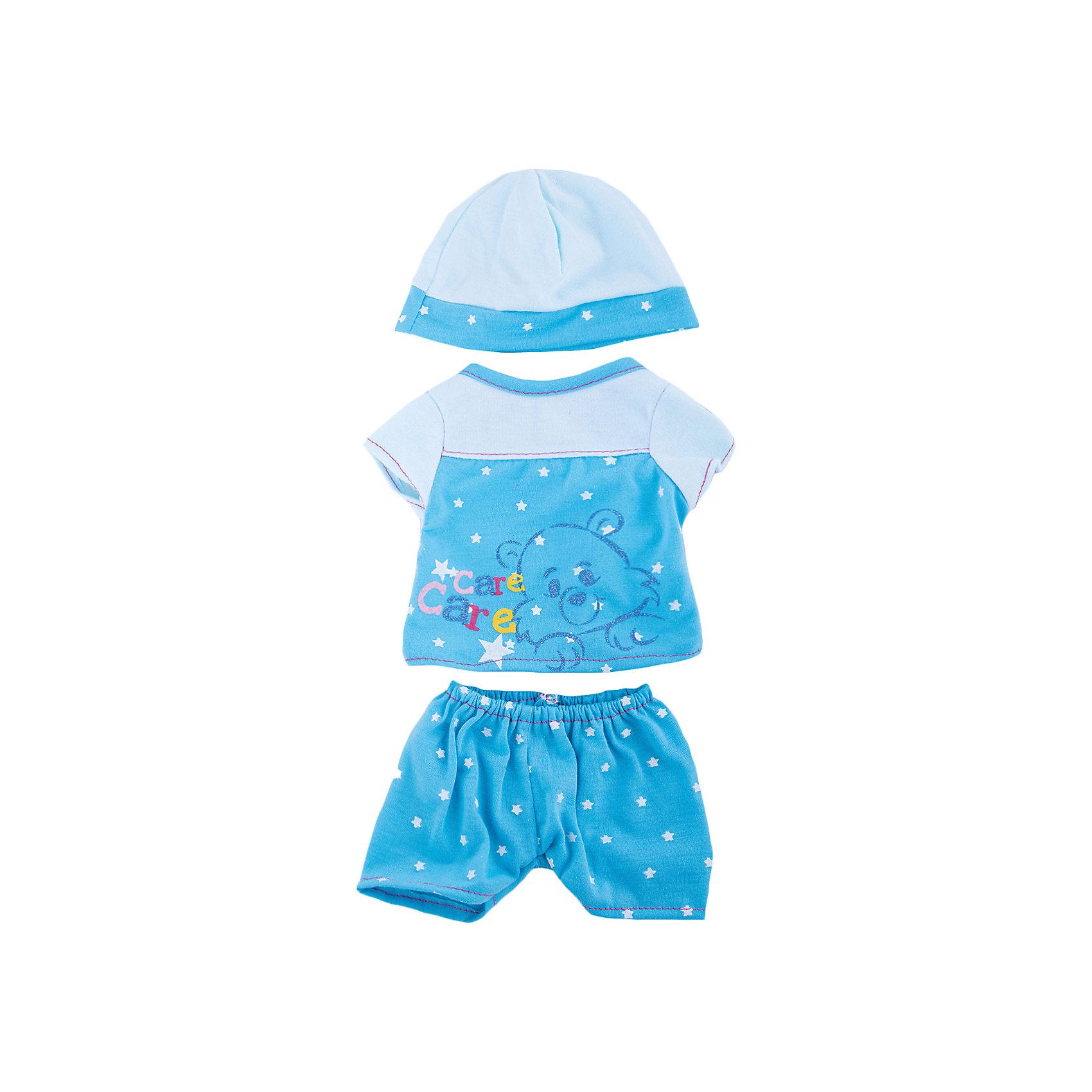 Одежда для кукол Пижама в наборе с шапочкойКукольная одежда и аксессуары<br>Одежда для кукол: пижама в наборе с шапочкой, размер: 30x20см, текстильные материалы, от 1 года<br><br>Ширина мм: 300<br>Глубина мм: 200<br>Высота мм: 10<br>Вес г: 521<br>Возраст от месяцев: 36<br>Возраст до месяцев: 144<br>Пол: Женский<br>Возраст: Детский<br>SKU: 4896511