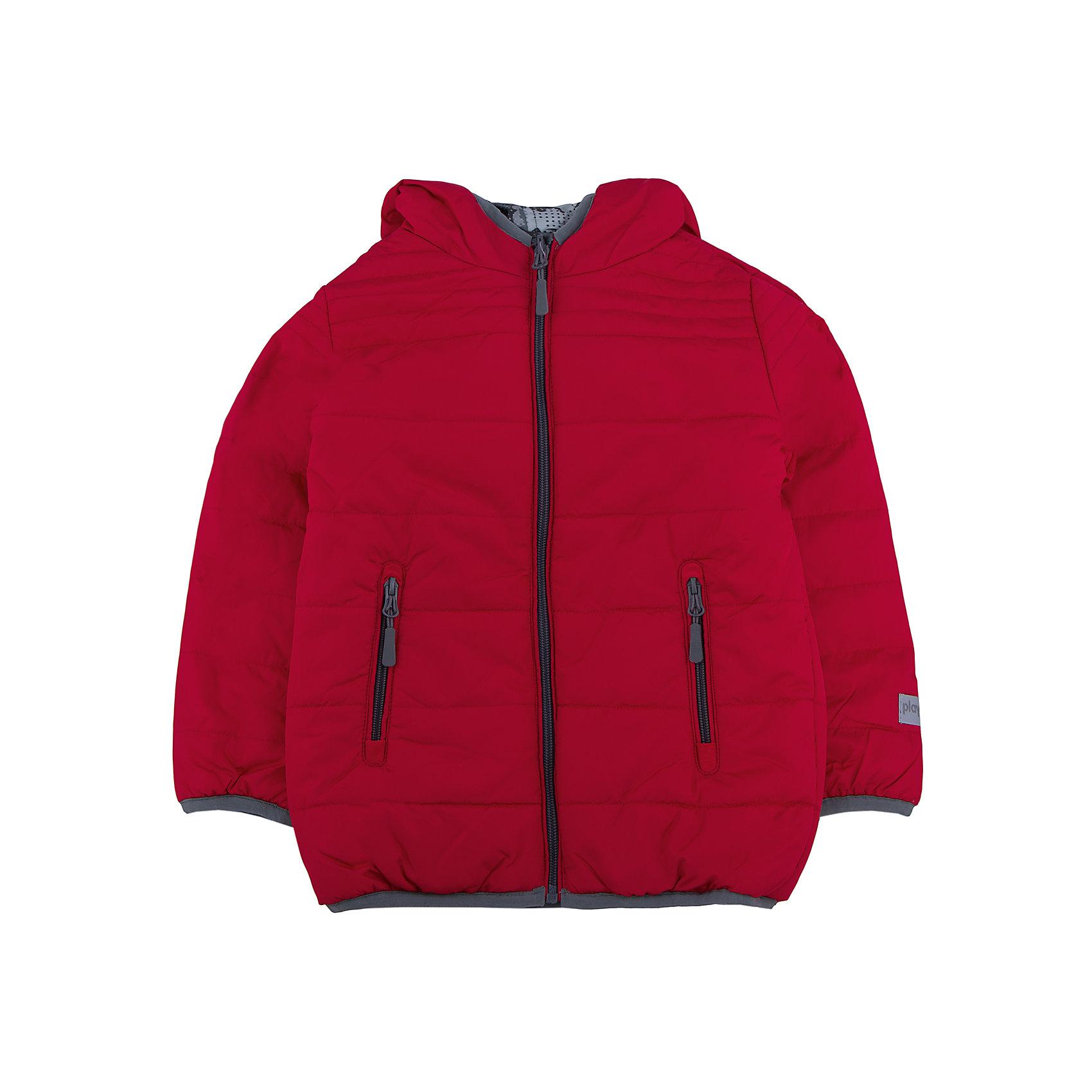 Куртка для мальчика PlayTodayКуртка для мальчика от известного бренда PlayToday.<br>Стильная и яркая стеганая куртка с капюшоном. Застегивается на молнию. Двухсторонняя, можно носить как красной стороной наружу, так и принтованной в стиле милитари. Есть два функциональных кармана на молнии и светоотражатели. Края обработаны эластичным кантом.<br>Состав:<br>Верх: 100% полиэстер, Подкладка: 100% полиэстер, Наполнитель: 100% полиэстер, 250 г/м2<br><br>Ширина мм: 356<br>Глубина мм: 10<br>Высота мм: 245<br>Вес г: 519<br>Цвет: разноцветный<br>Возраст от месяцев: 36<br>Возраст до месяцев: 48<br>Пол: Мужской<br>Возраст: Детский<br>Размер: 104,122,128,116,110,98<br>SKU: 4896543