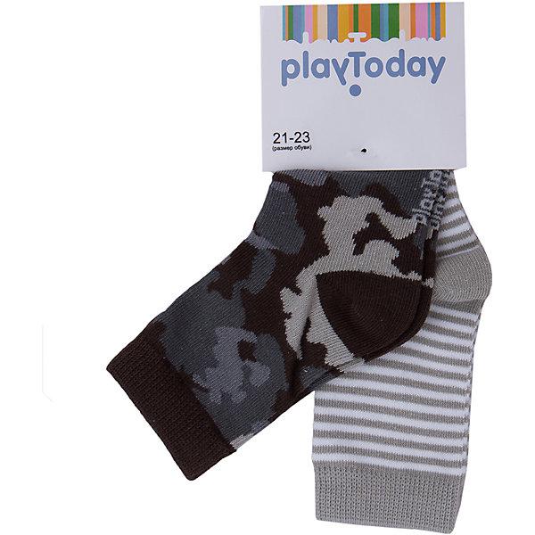 Носки, 2 пары для мальчика PlayTodayНоски<br>Носки, 2 пары для мальчика от известного бренда PlayToday.<br>Комплект из двух уютных хлопковых носочков. Верх на мягкой резинке. Первые - в полоску, вторые - с принтом в стиле милитари.<br>Состав:<br>75% хлопок, 22% нейлон, 3% эластан<br>Ширина мм: 87; Глубина мм: 10; Высота мм: 105; Вес г: 115; Цвет: черный/серый; Возраст от месяцев: 15; Возраст до месяцев: 24; Пол: Мужской; Возраст: Детский; Размер: 14,18,16; SKU: 4896713;