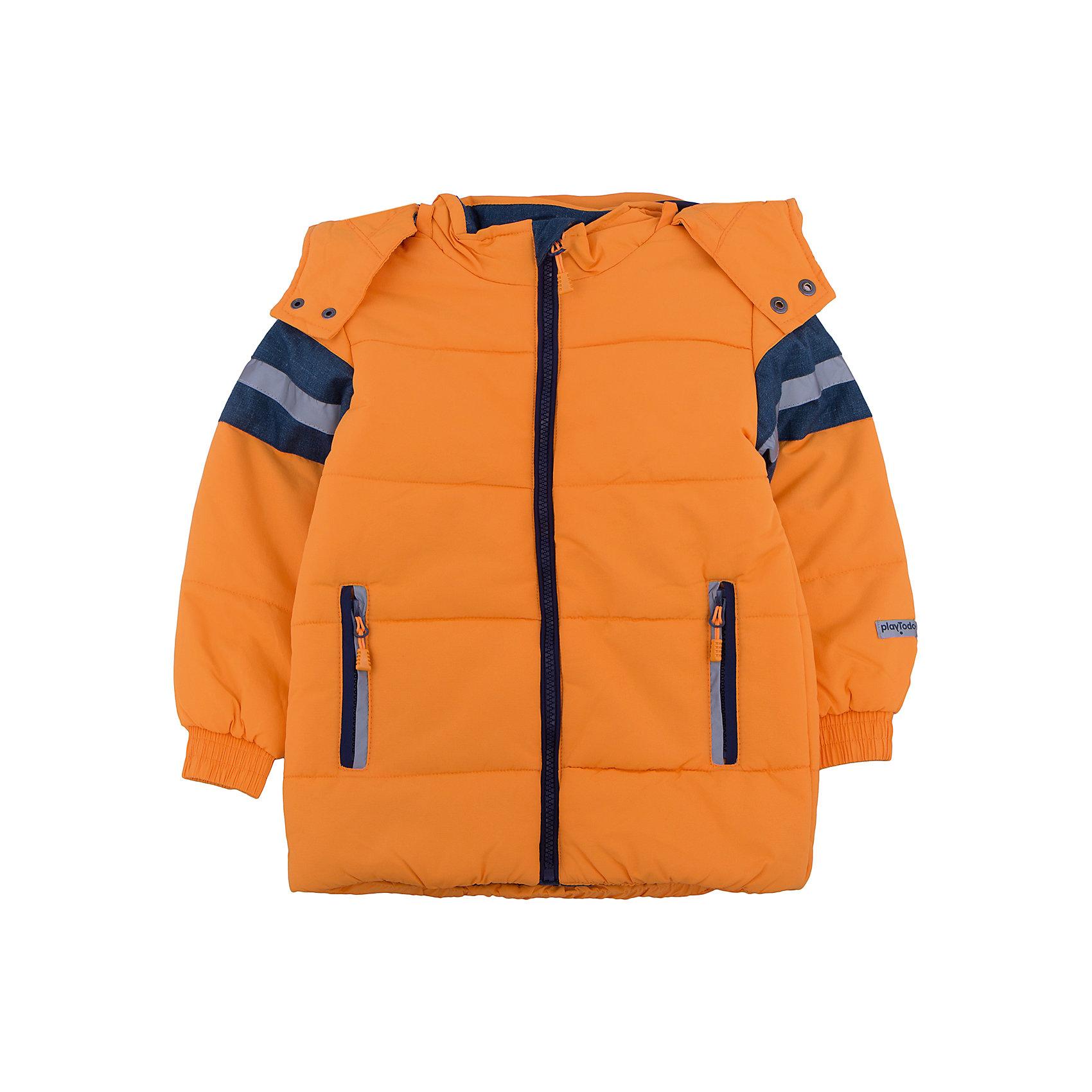 Куртка для мальчика PlayTodayВерхняя одежда<br>Куртка для мальчика от известного бренда PlayToday.<br>Стильная куртка ярко-оранжевого цвета. Украшена полосками с имитацией джинсовой ткани и светоотражателями. Застегивается на молнию с защитой подбородка. Рукава и низ на резинке. Есть два функциональных кармана на молнии. Капюшон утягивается стопперами и удобно отстегивается.<br>Состав:<br>Верх: 100% нейлон, подкладка: 100% полиэстер, наполнитель: 100% полиэстер, 260 г/м2<br><br>Ширина мм: 356<br>Глубина мм: 10<br>Высота мм: 245<br>Вес г: 519<br>Цвет: оранжевый<br>Возраст от месяцев: 72<br>Возраст до месяцев: 84<br>Пол: Мужской<br>Возраст: Детский<br>Размер: 122,104,128,116,110,98<br>SKU: 4896731