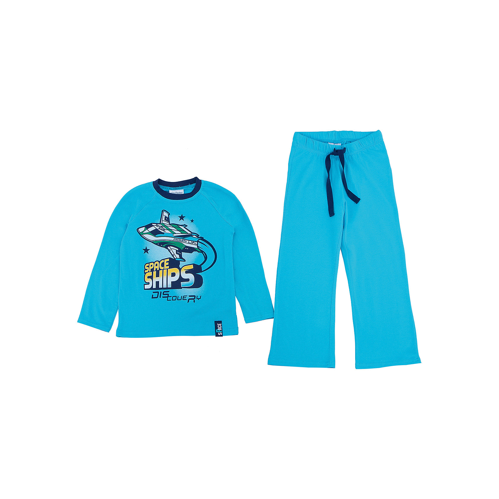 Комплект: футболка с длинным рукавом и брюки для мальчика PlayTodayКомплект: футболка с длинным рукавом и брюки для мальчика от известного бренда PlayToday.<br>Яркий комплект из футболки с длинными рукавами и брюк. Футболка украшена стильным принтом на космическую тему. На воротнике эластичная бейка. Пояс на резинке, дополнительно регулируется шнурком.<br>Состав:<br>95% хлопок, 5% эластан<br><br>Ширина мм: 215<br>Глубина мм: 88<br>Высота мм: 191<br>Вес г: 336<br>Цвет: синий<br>Возраст от месяцев: 36<br>Возраст до месяцев: 48<br>Пол: Мужской<br>Возраст: Детский<br>Размер: 104,116,122,98,128,110<br>SKU: 4897243
