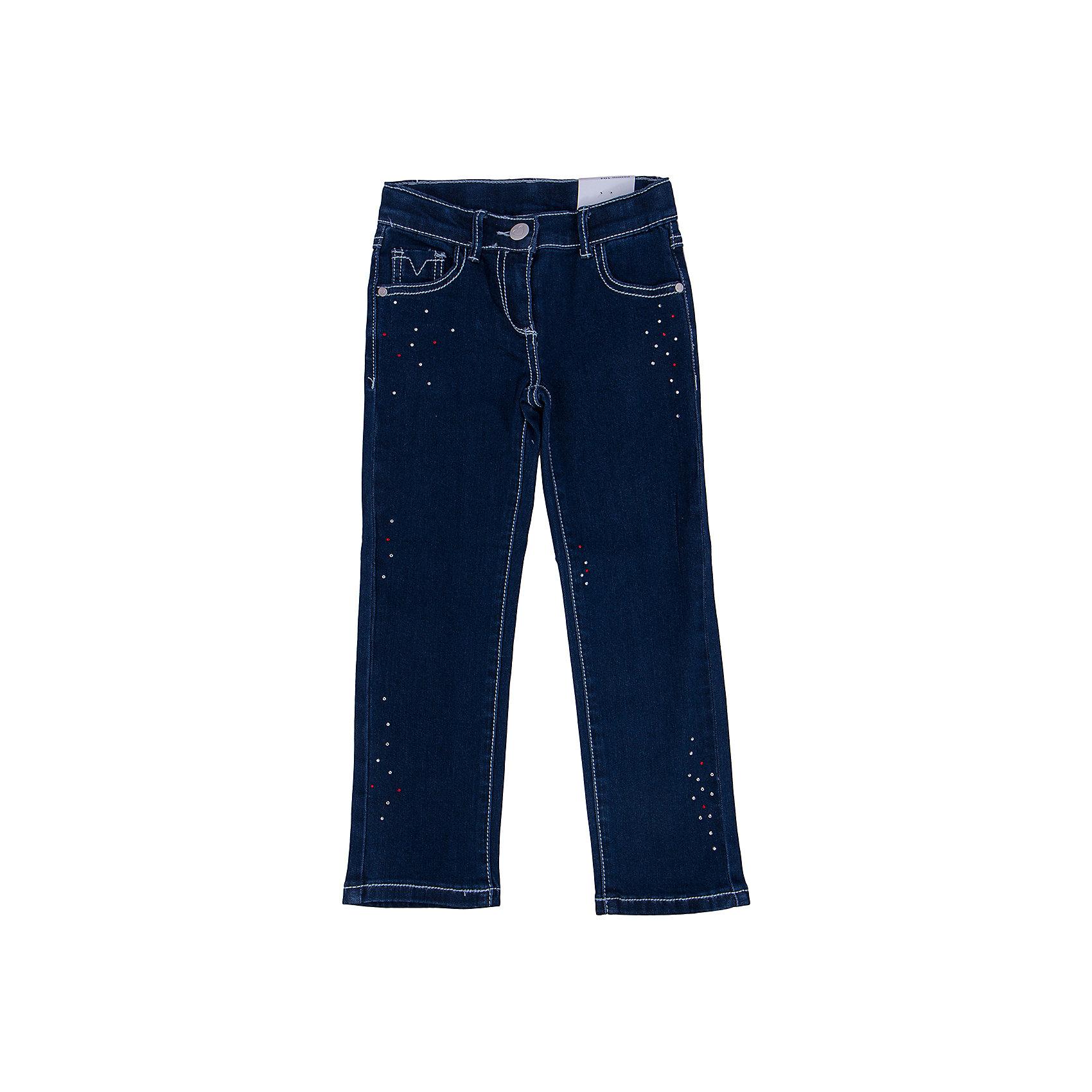 Джинсы для девочки PlayTodayДжинсы для девочки от известного бренда PlayToday.<br>Удобные джинсы с контрастной светло-голубой стежкой. Украшены сверкающими стразами. Застегиваются на молнию и пуговицу, есть шлевки для ремня. Классическая пятикарманка.<br>Состав:<br>51% хлопок, 26% полиэстер, 22% вискоза, 1% эластан<br><br>Ширина мм: 215<br>Глубина мм: 88<br>Высота мм: 191<br>Вес г: 336<br>Цвет: синий<br>Возраст от месяцев: 72<br>Возраст до месяцев: 84<br>Пол: Женский<br>Возраст: Детский<br>Размер: 122,104,128,110,116,98<br>SKU: 4897565
