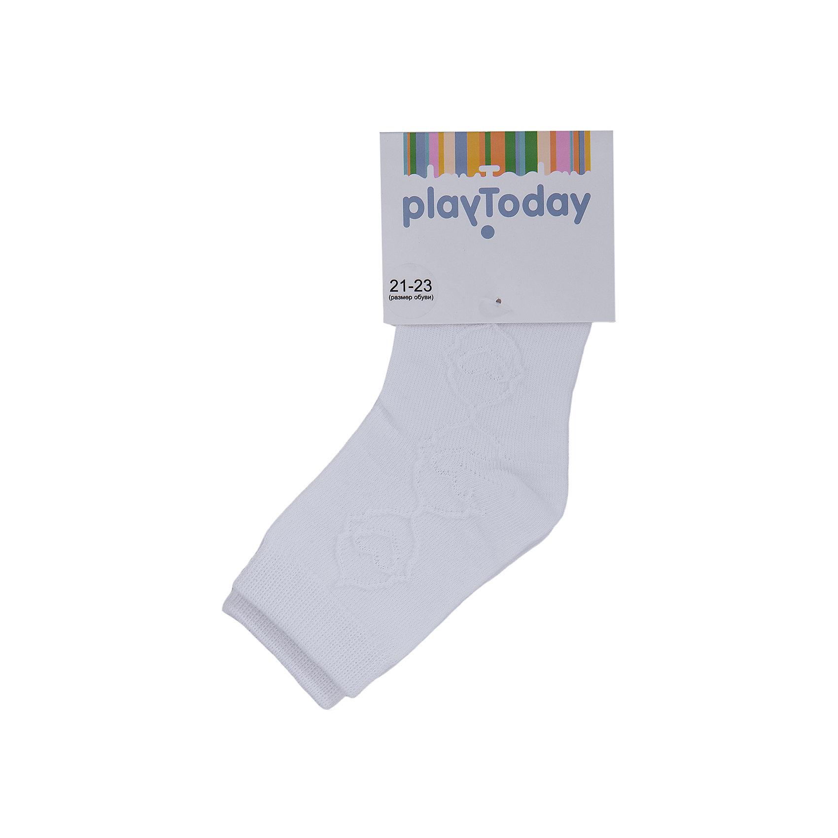 Носки для девочки PlayTodayНоски<br>Носки для девочки от известного бренда PlayToday.<br>Уютные хлопковые носочки с милым рисунком. Верх на мягкой резинке.<br>Состав:<br>75% хлопок, 22% нейлон, 3% эластан<br><br>Ширина мм: 87<br>Глубина мм: 10<br>Высота мм: 105<br>Вес г: 115<br>Цвет: белый<br>Возраст от месяцев: 15<br>Возраст до месяцев: 24<br>Пол: Женский<br>Возраст: Детский<br>Размер: 14,18,16<br>SKU: 4897628