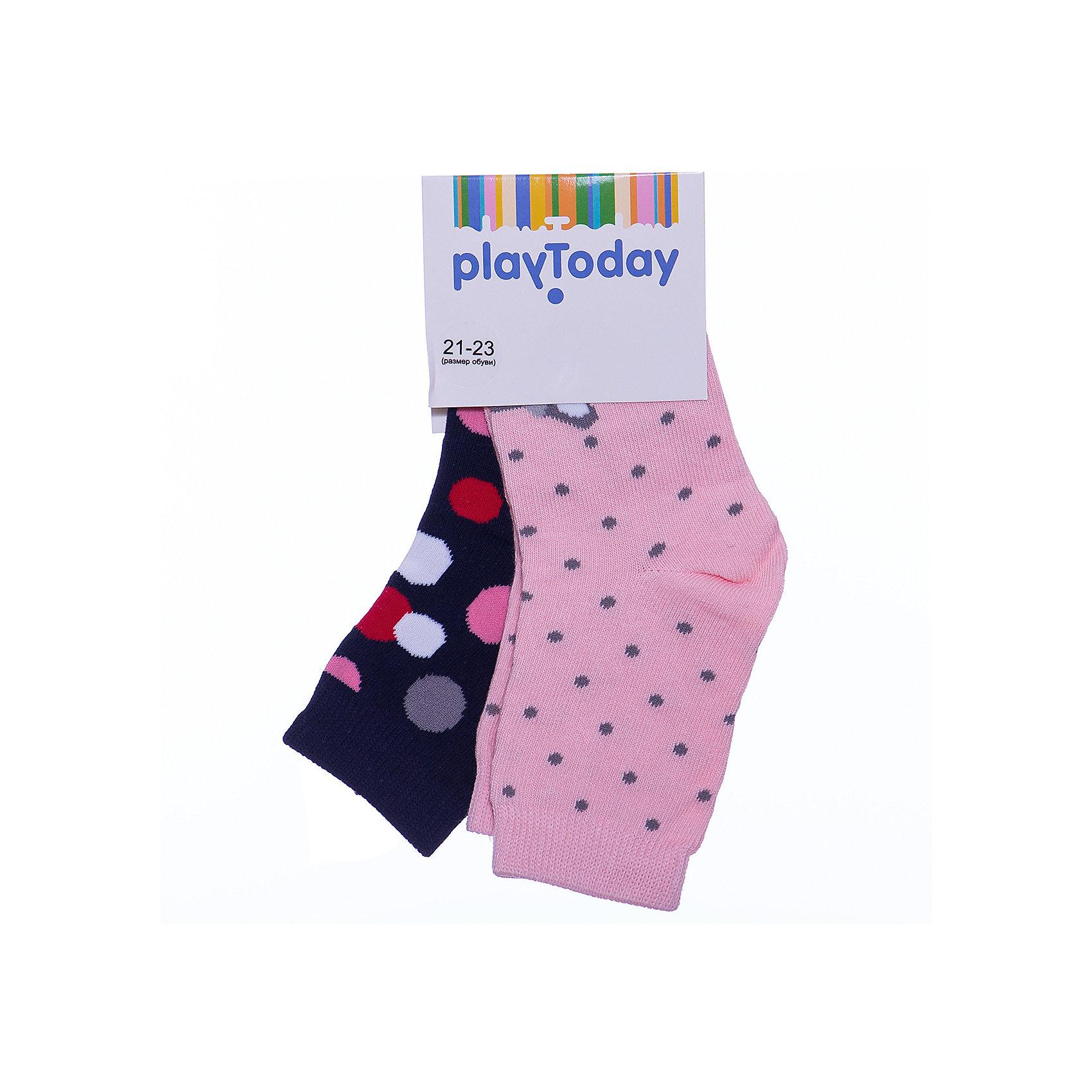 Носки, 2 пары для девочки PlayTodayНоски<br>Носки, 2 пары для девочки от известного бренда PlayToday.<br>Комплект из двух пар уютных хлопковых носочков. Первая пара - в цветной горошек. Вторая пара украшена изображением олененка, которое складывается, если поставить ножки вместе. Верх на мягкой резинке.<br>Состав:<br>75% хлопок, 22% нейлон, 3% эластан<br><br>Ширина мм: 87<br>Глубина мм: 10<br>Высота мм: 105<br>Вес г: 115<br>Цвет: белый<br>Возраст от месяцев: 3<br>Возраст до месяцев: 6<br>Пол: Женский<br>Возраст: Детский<br>Размер: 18,14,16<br>SKU: 4897632